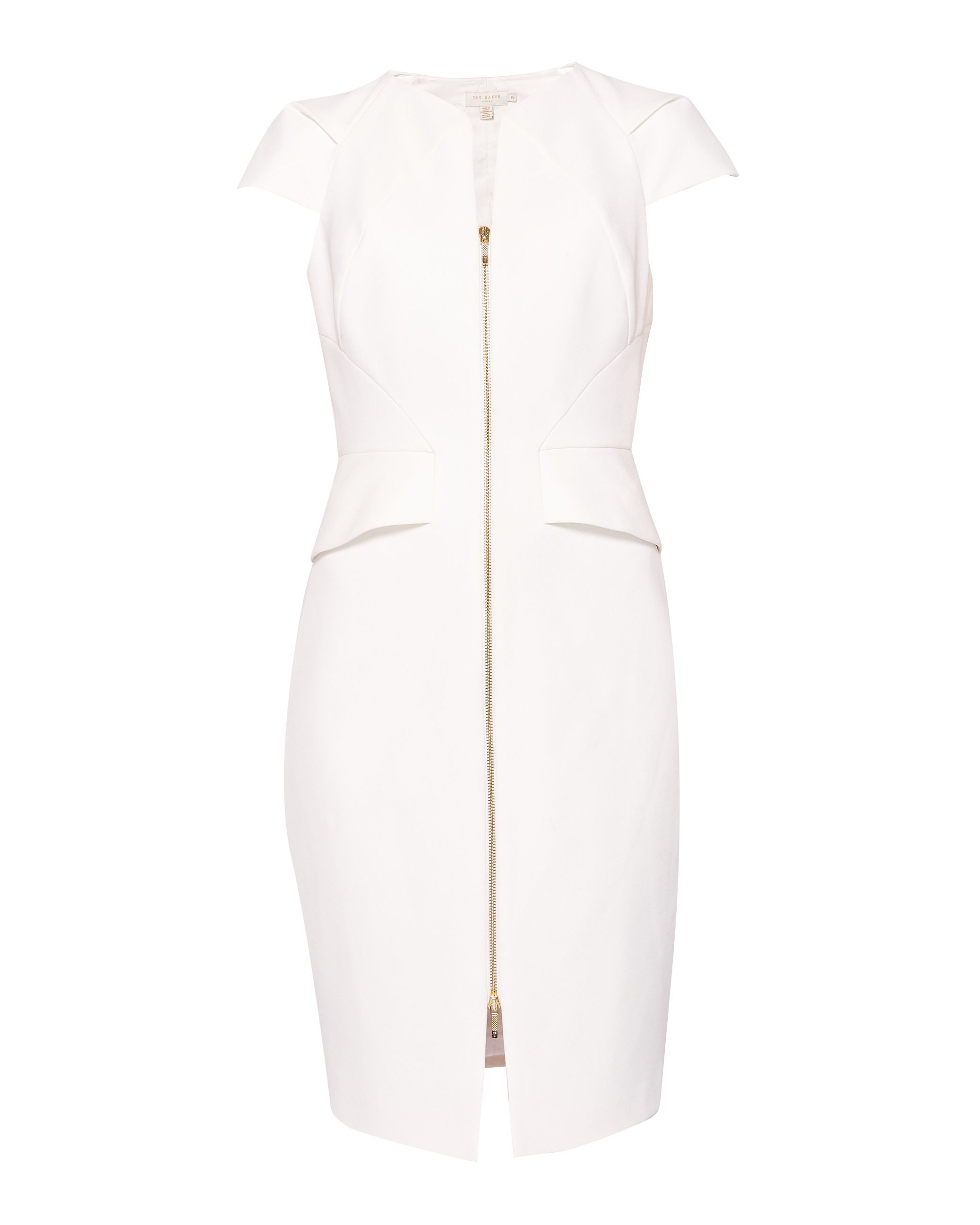 Ted Baker Fearnid Zip Front Pencil Dress, White