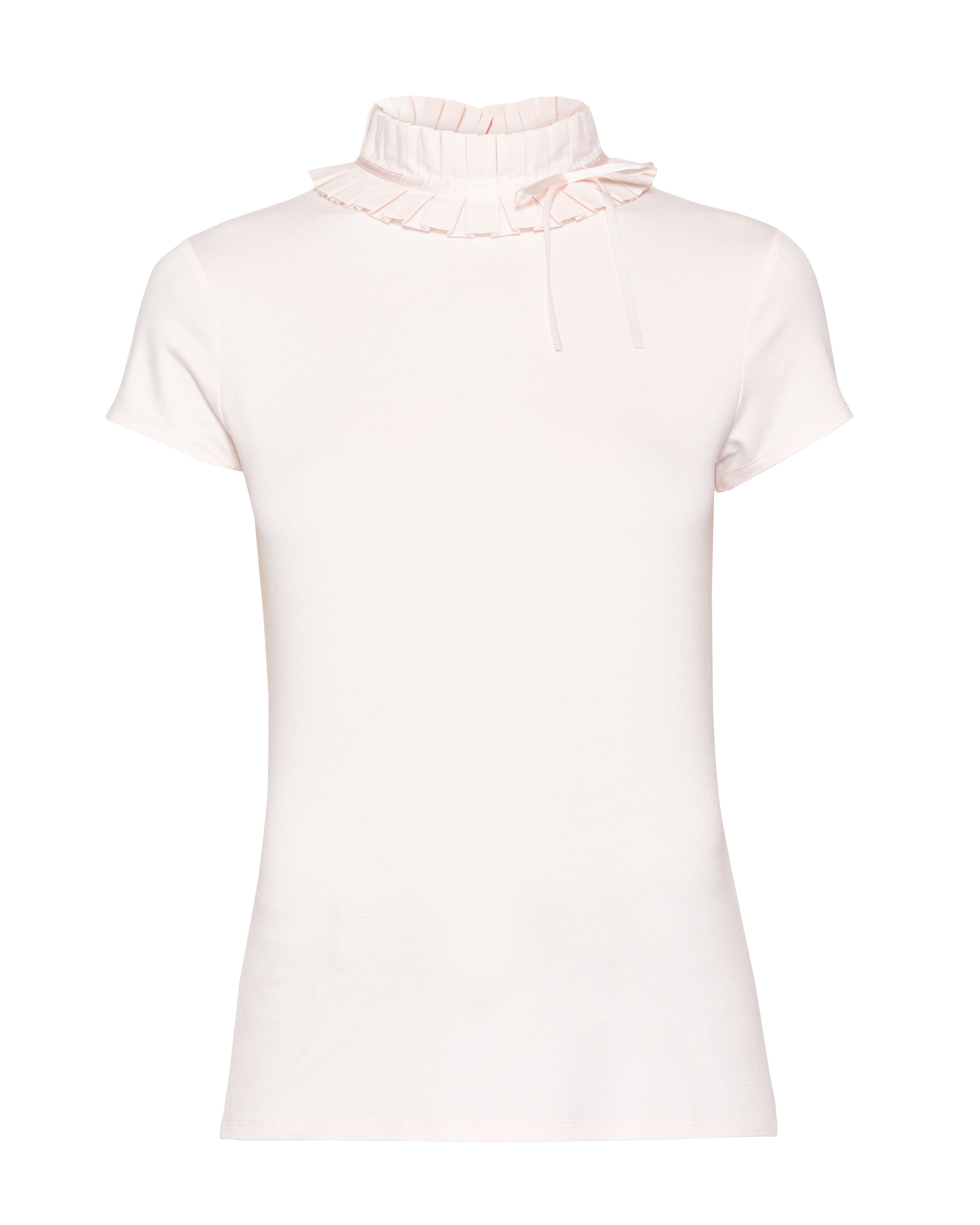 Ted Baker Nicohla Ruffle Neck T-Shirt, Pink