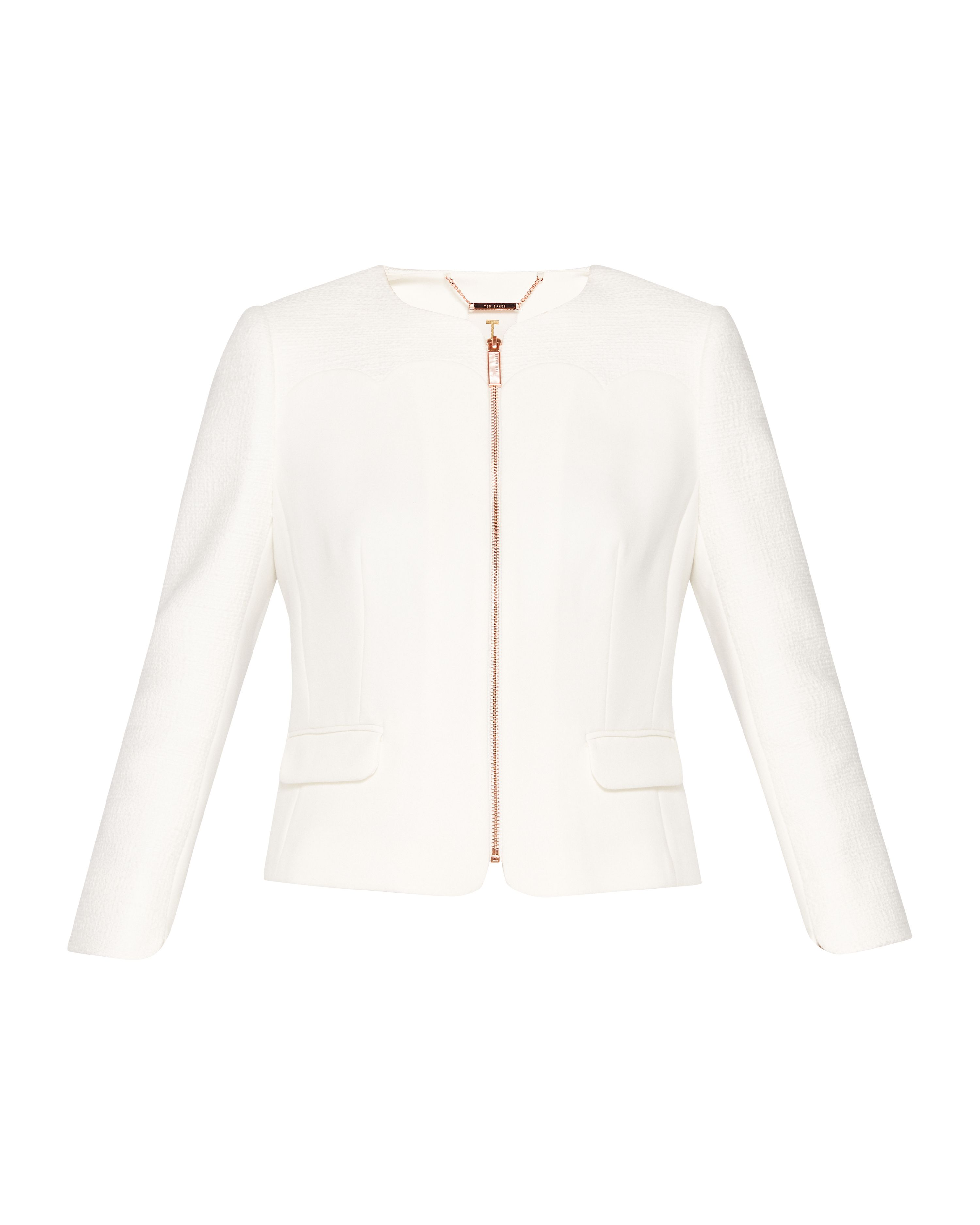 Ted Baker Ila Scallop Detail Zip Up Jacket, White