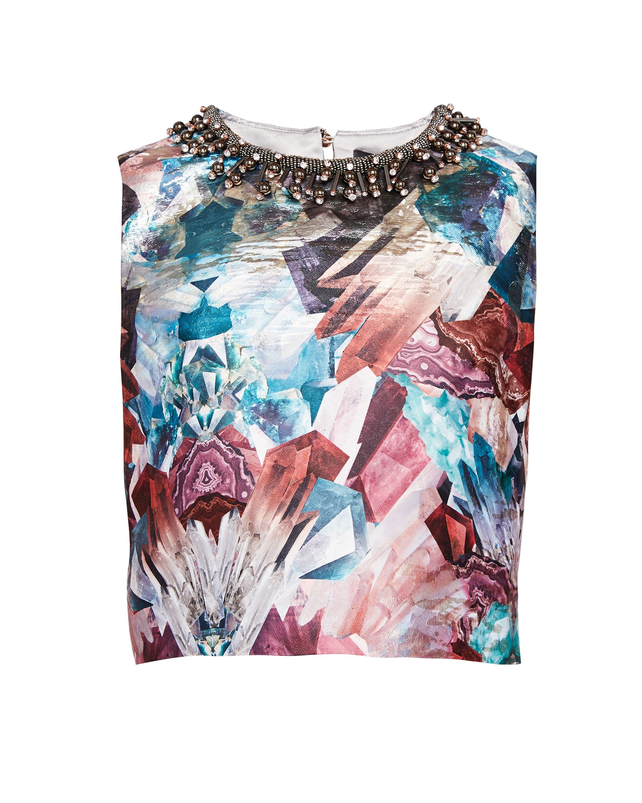 Ted Baker Essme Mirrored Minerals Crop Top, Mid Grey