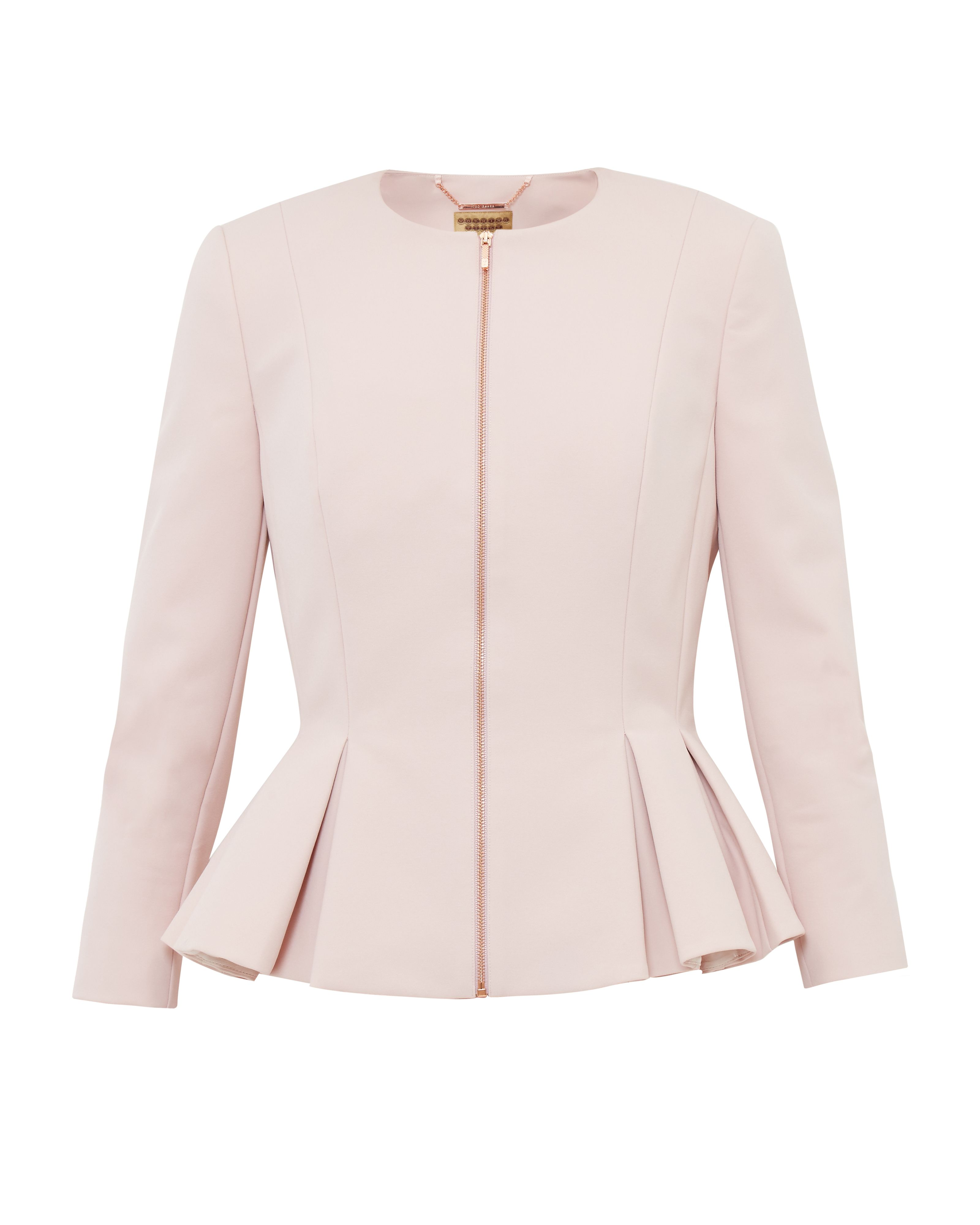 Ted Baker Suria Peplum Zip Through Jacket, Pastel Pink