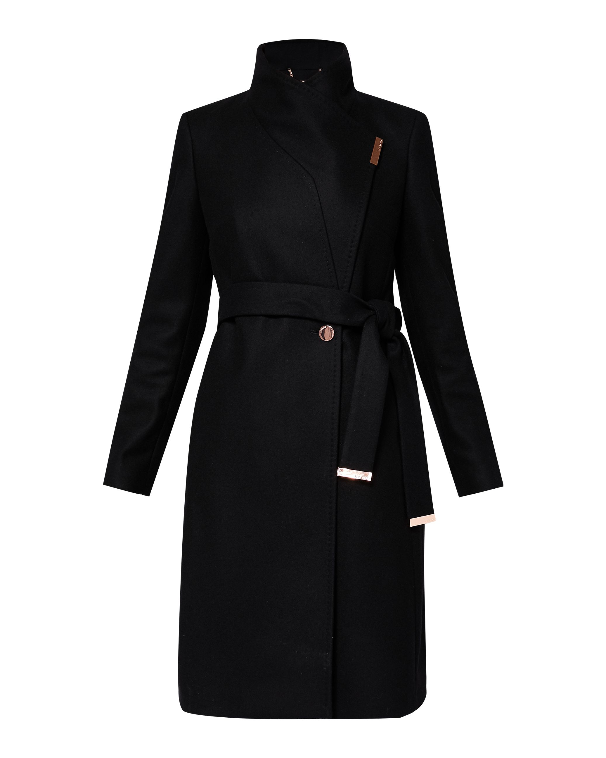 Ted Baker Kikiie Cashmere-Blend Wrap Front Coat, Black
