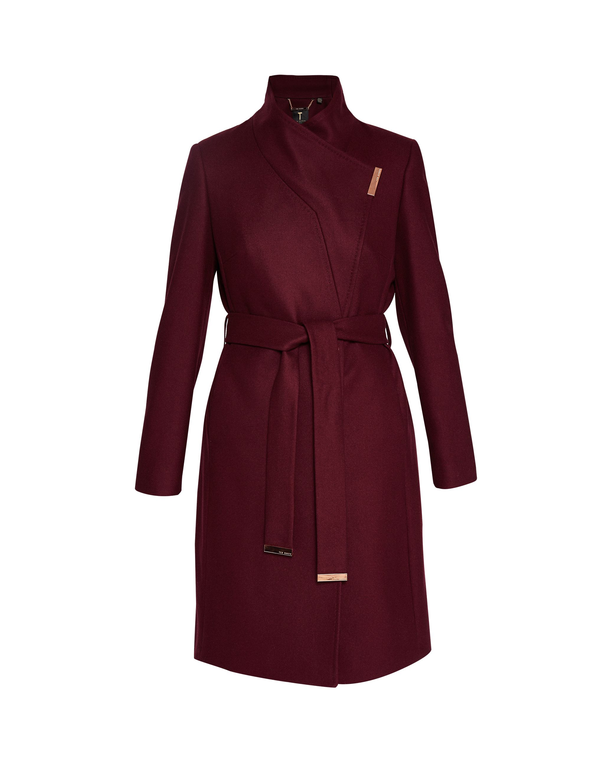 Ted Baker Kikiie Cashmere-Blend Wrap Front Coat, Maroon