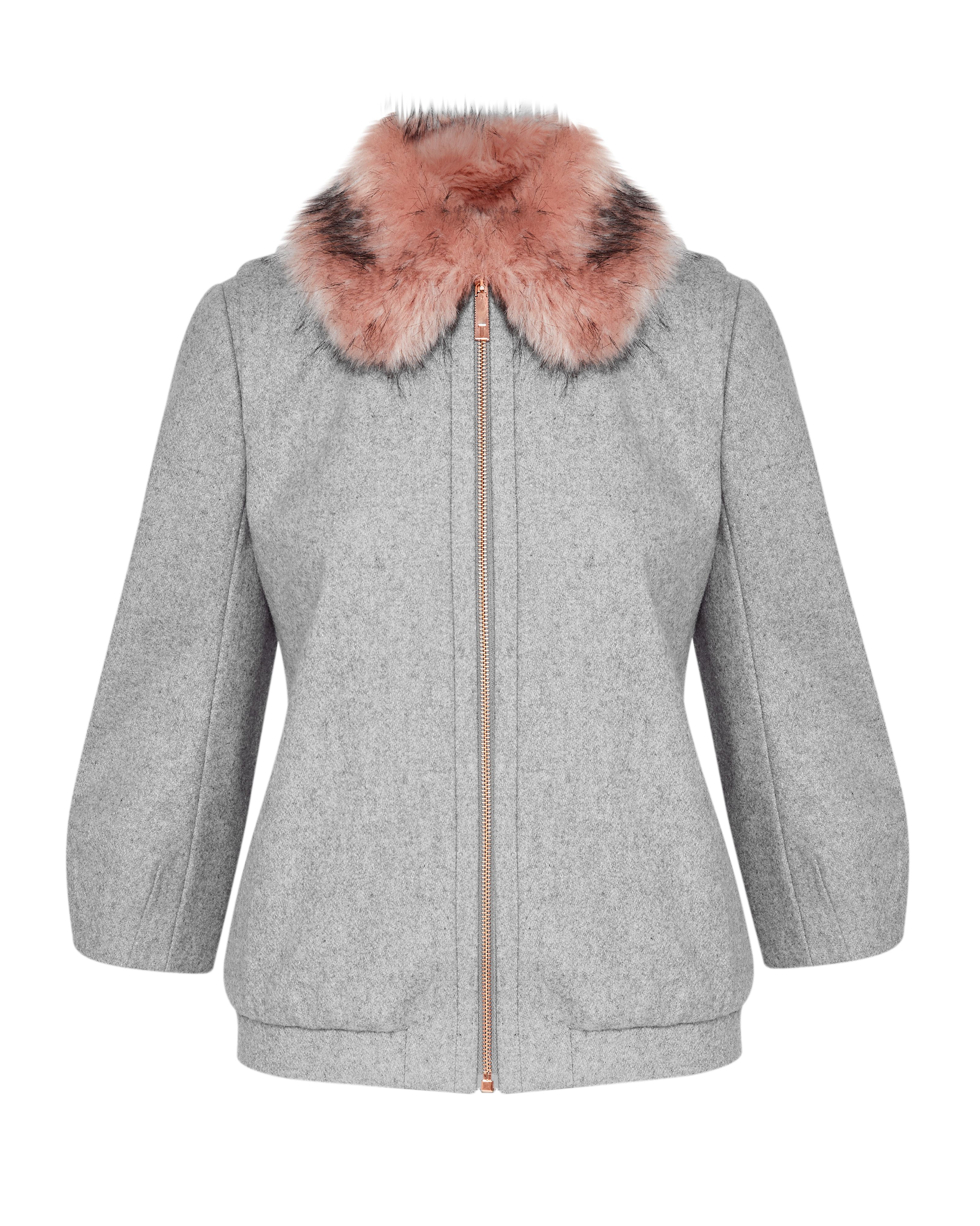 Ted Baker Robley Wool And Cashmere-Blend Faux Fur, Light Grey