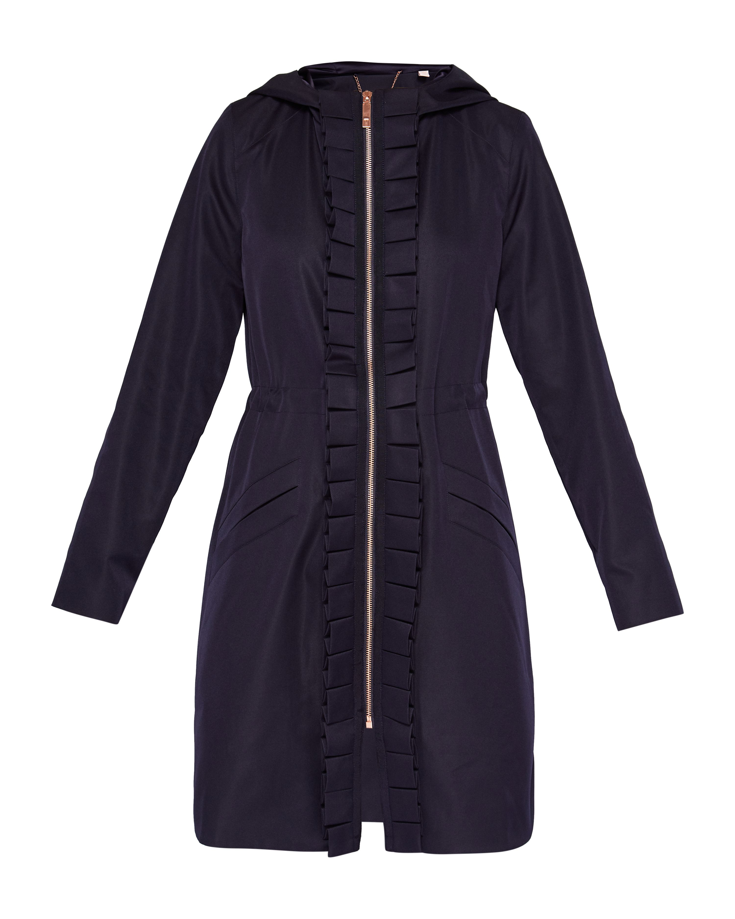 Ted Baker Zowe Ruffle Trim Hooded Parka, Blue