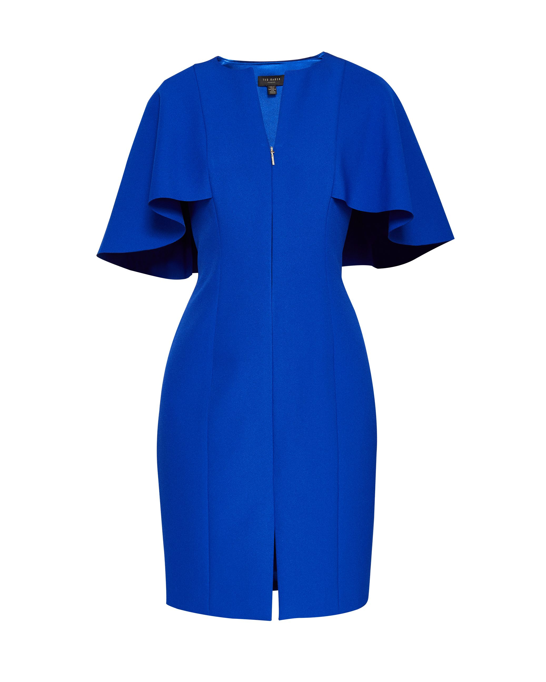 Ted Baker Porisa Bodycon Cape Back Dress, Bright Blue