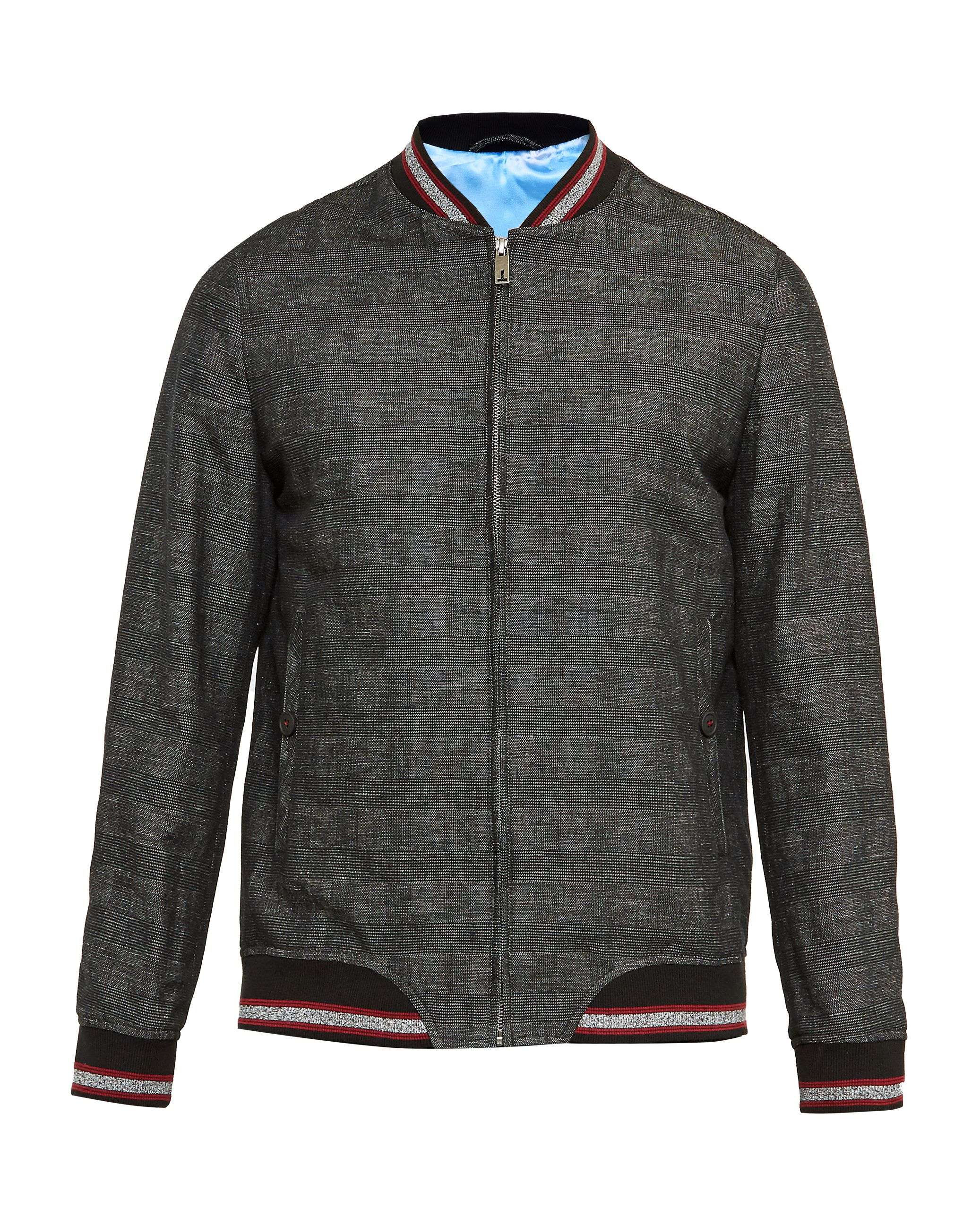 Mens Ted Baker Reactiv Checked Bomber Jacket Charcoal