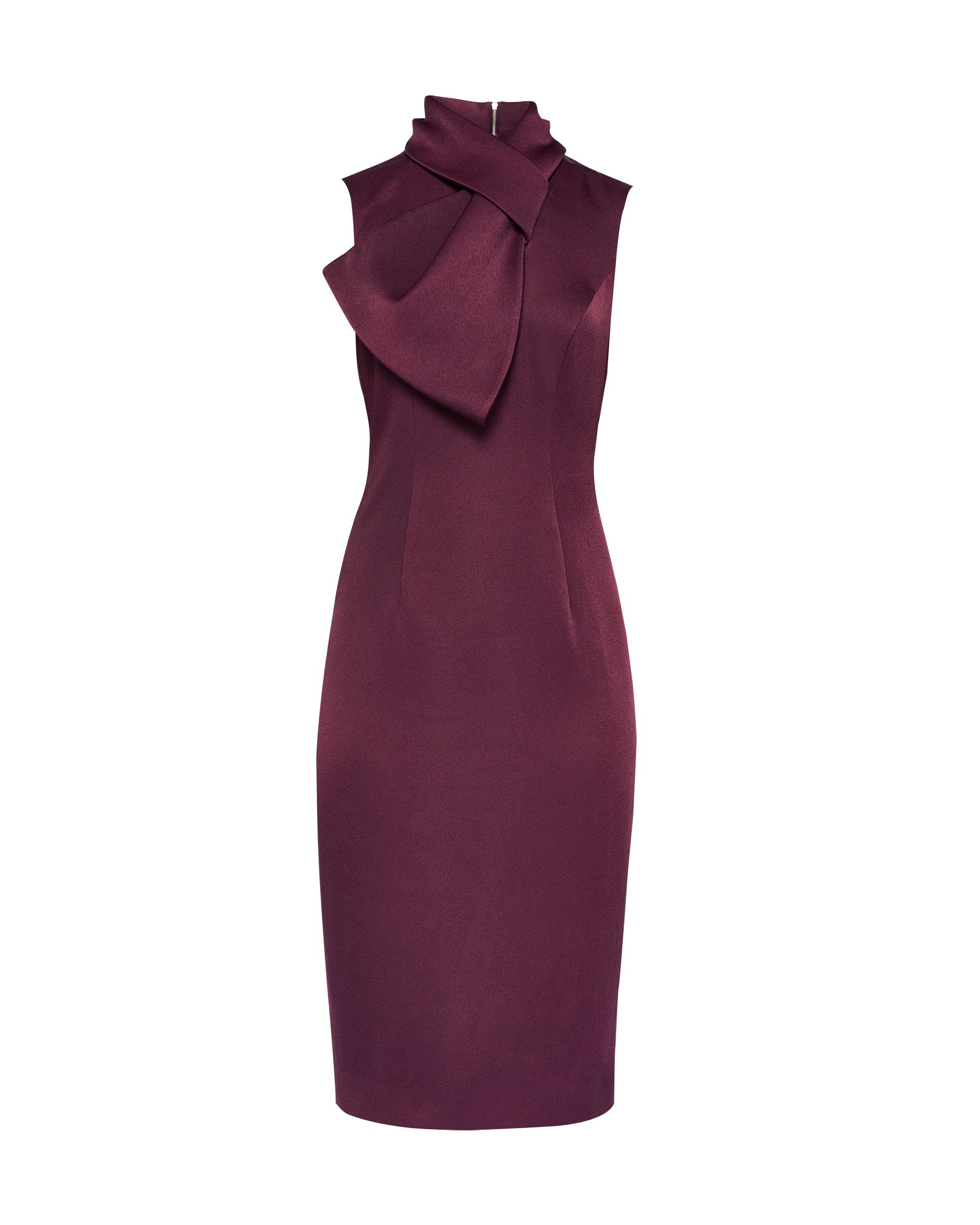 Ted Baker Eyet Dramatic Bow Neck Dress, Maroon