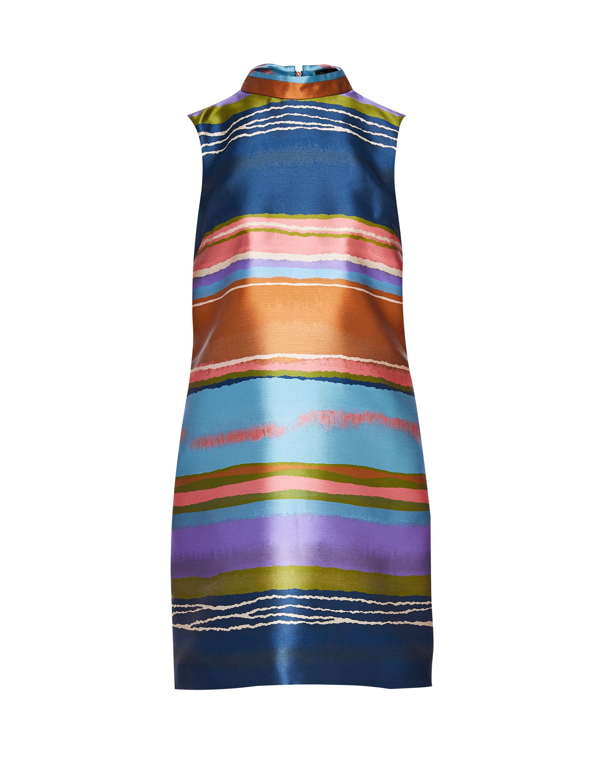 Ted Baker Ivara Layered Neck Striped Tunic Dress, Blue