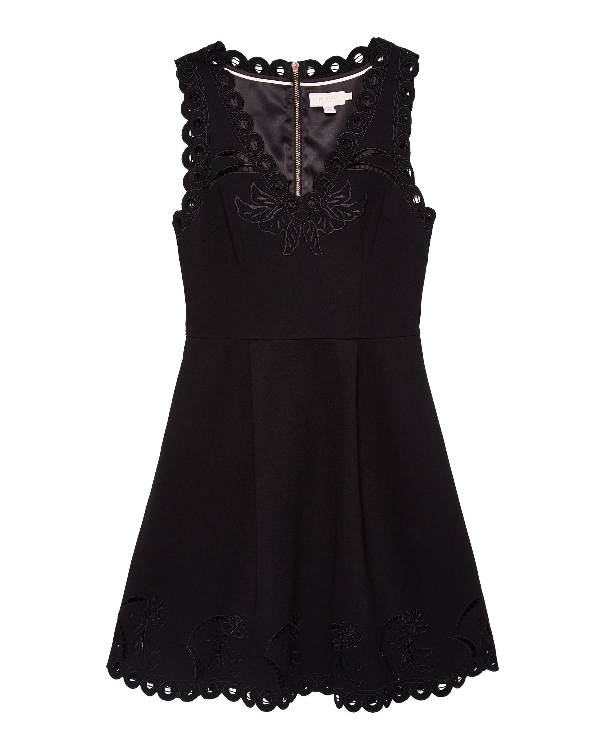 Ted Baker Emalise V-Neck Embroidered Skater Dress, Black