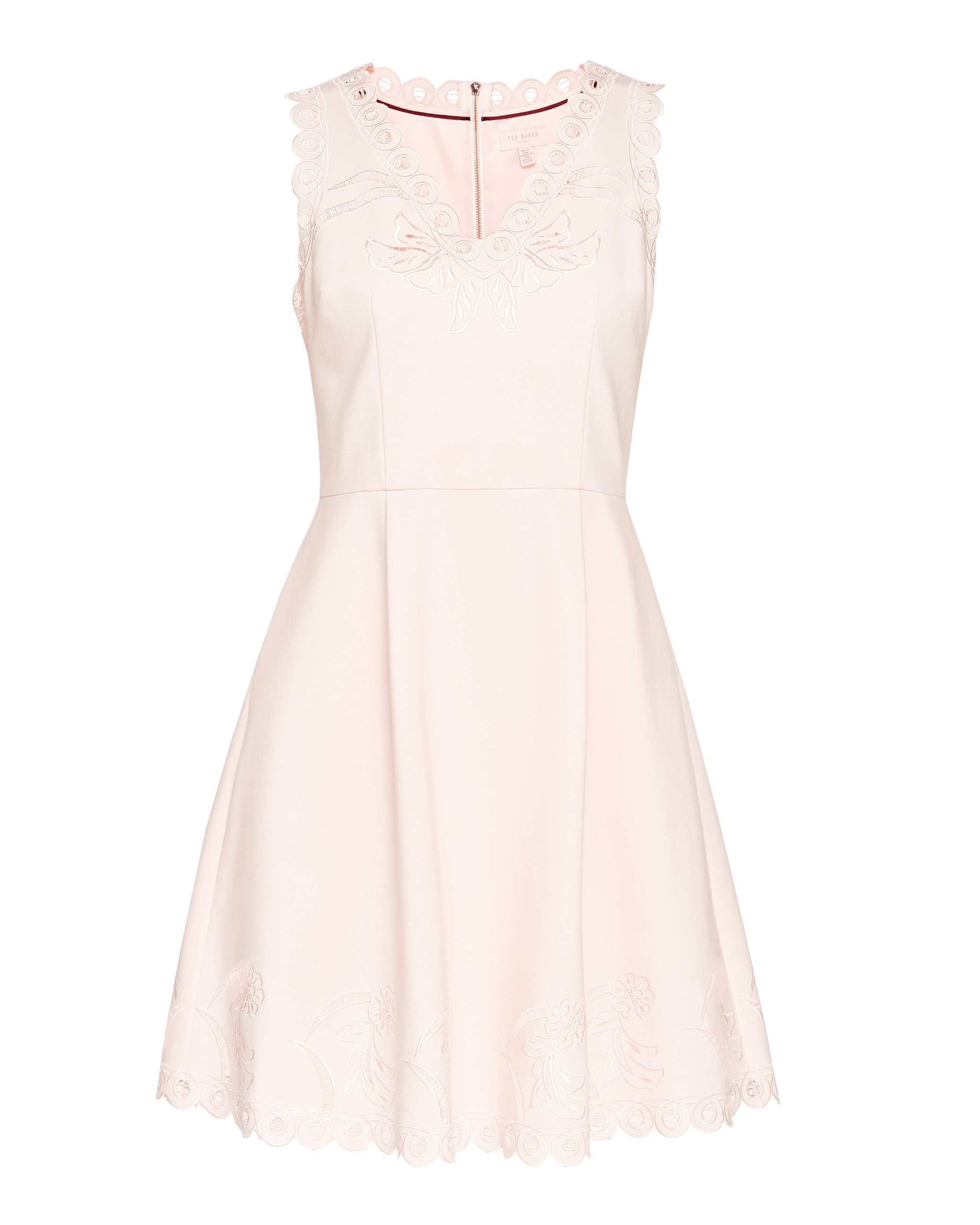 Ted Baker Emalise V-Neck Embroidered Skater Dress, Pink