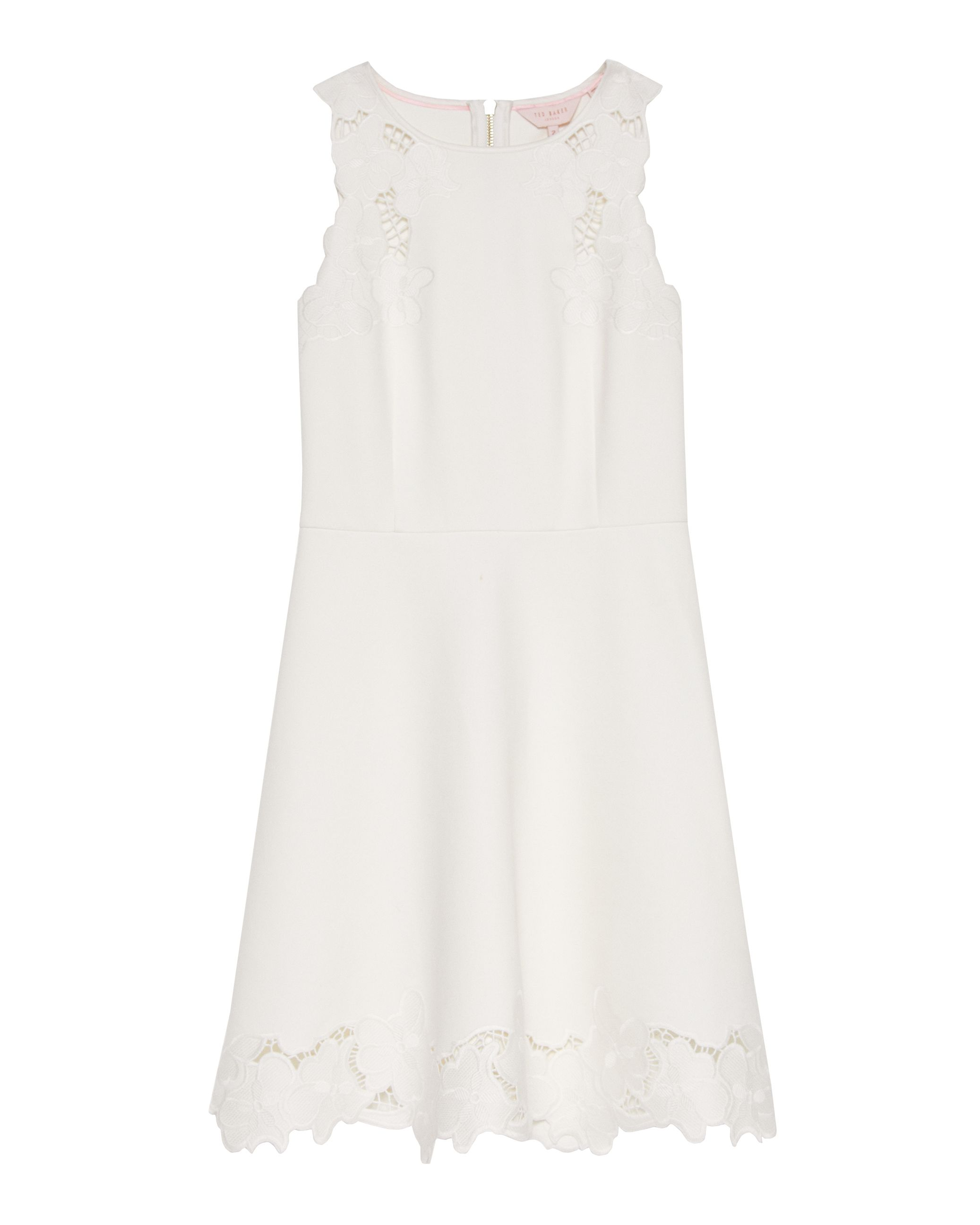 Ted Baker Emmona Embroidered Skater Dress, White