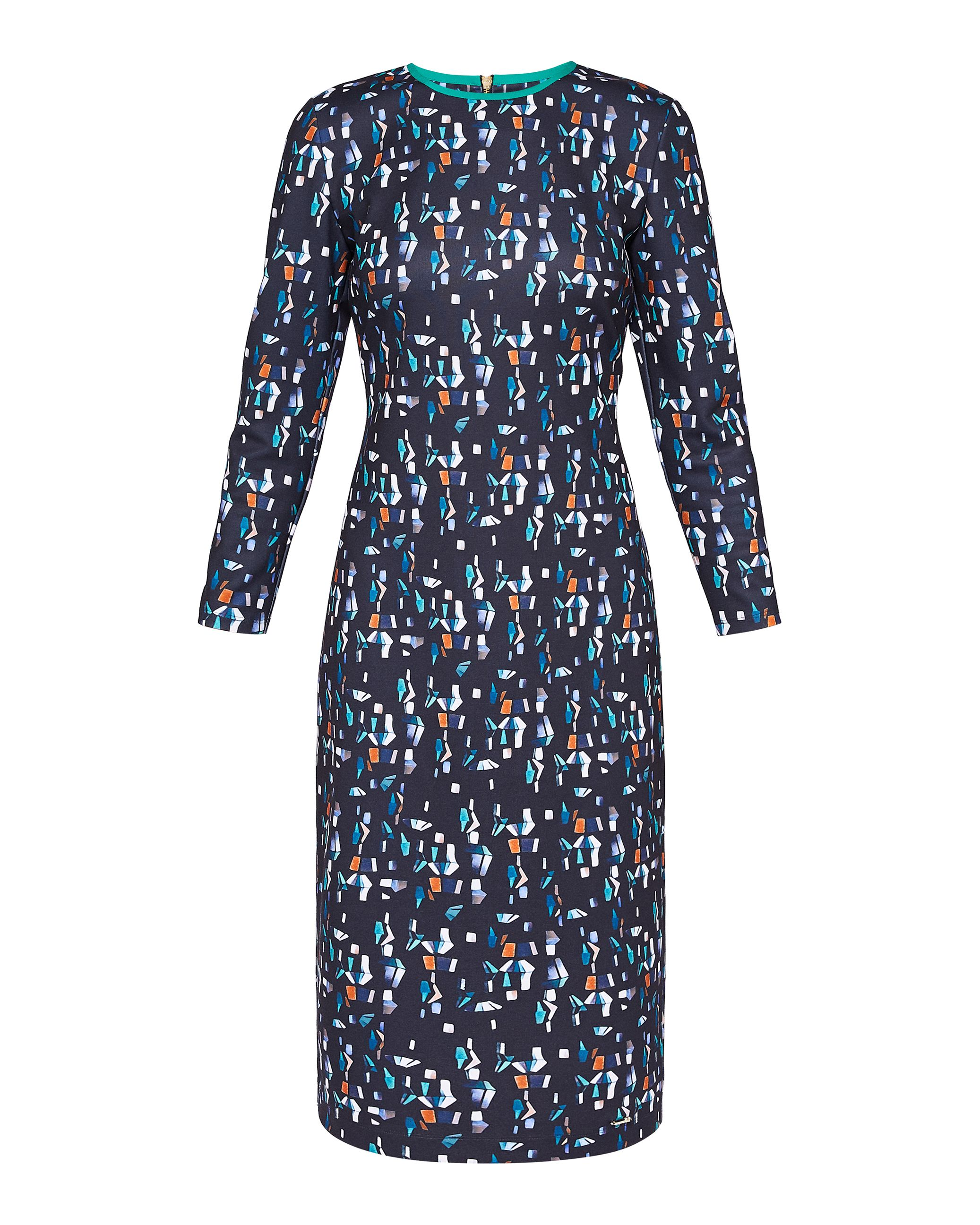 Ted Baker Kielder CBN L Printed Ls Ponte Dress, Blue
