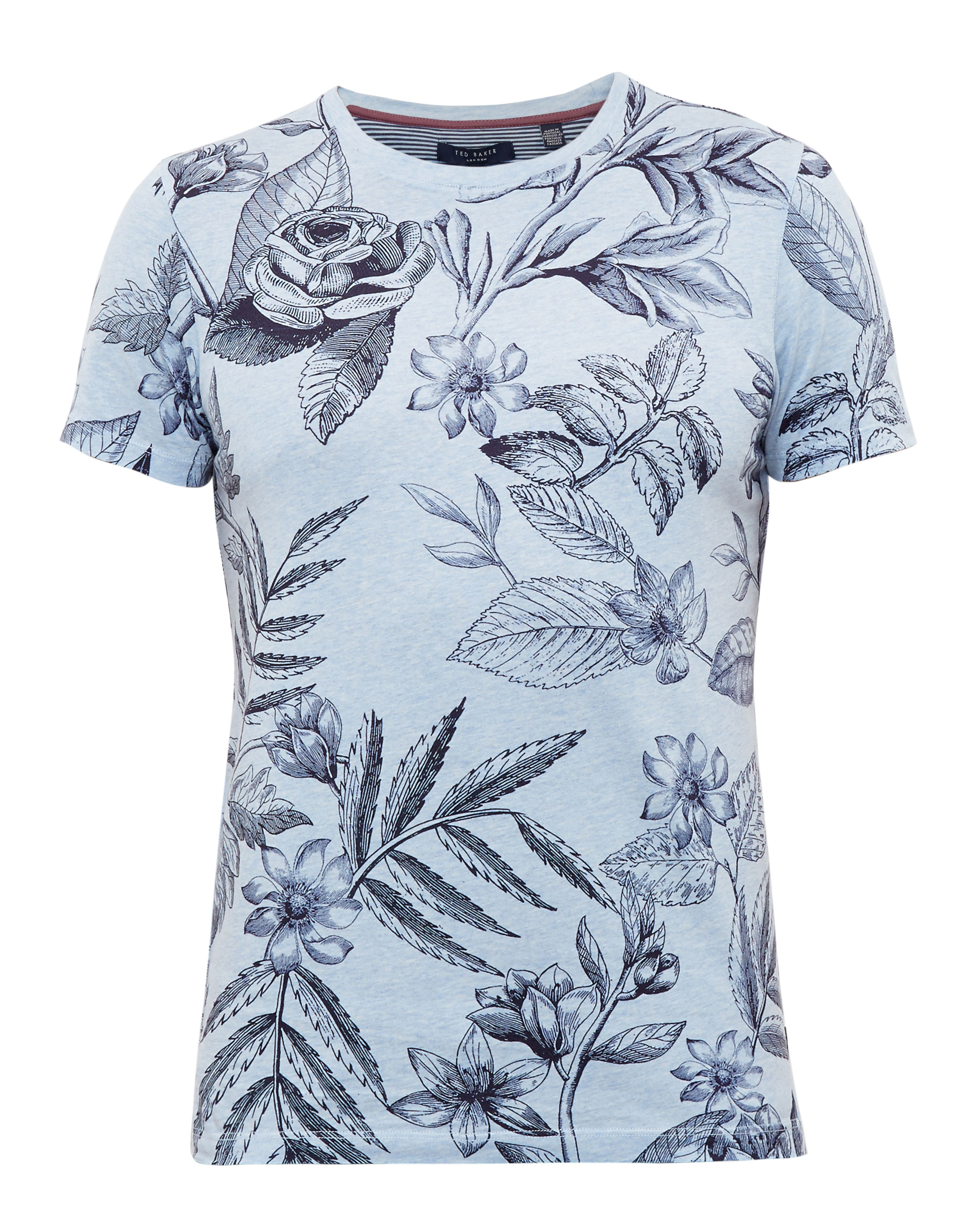 Mens Ted Baker Peggi Floral Print Cotton TShirt Blue