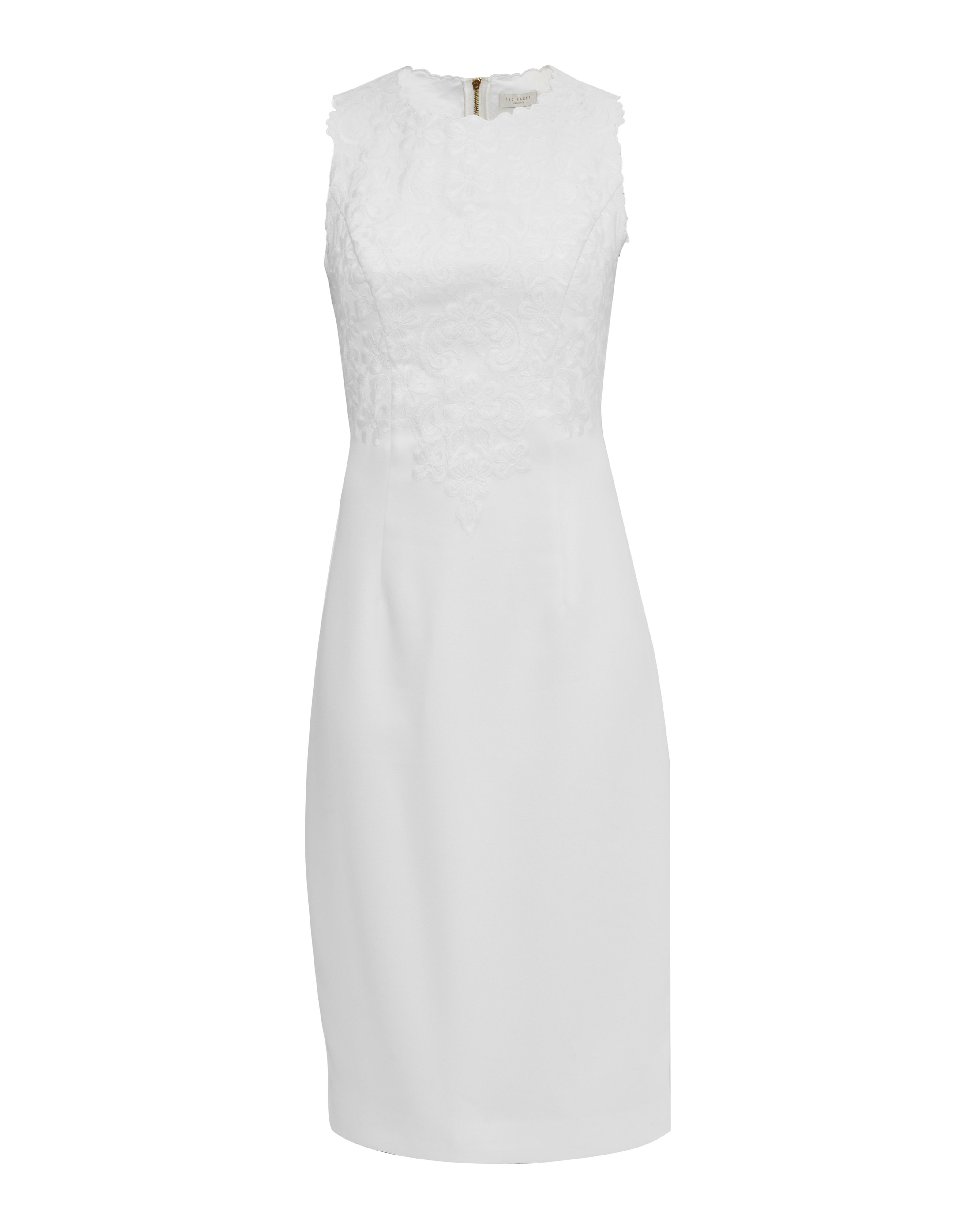Ted Baker Glaciat Embroidered Midi Bodycon Dress, Cream