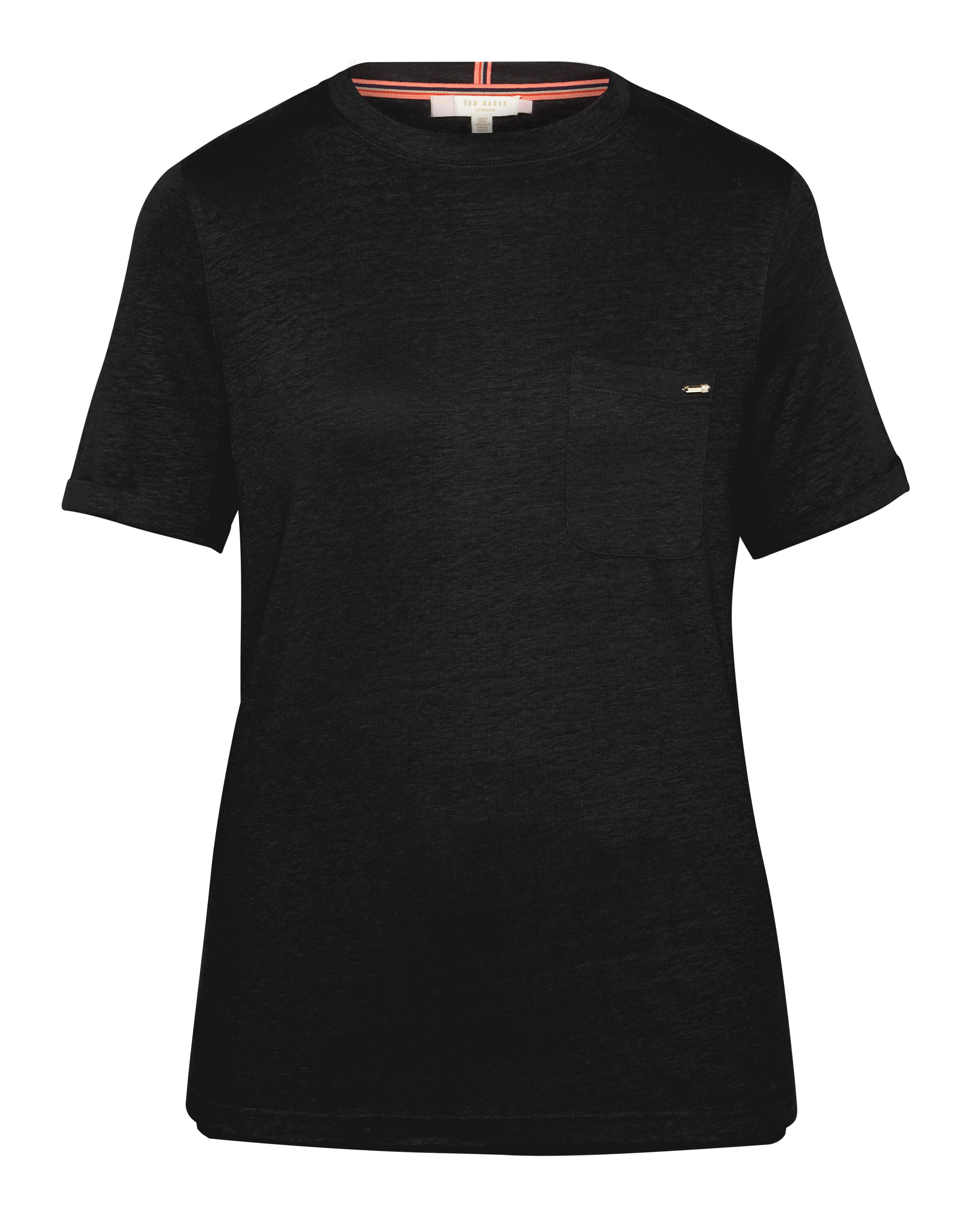Ted Baker Harlaa Square Cut Linen TShirt Black