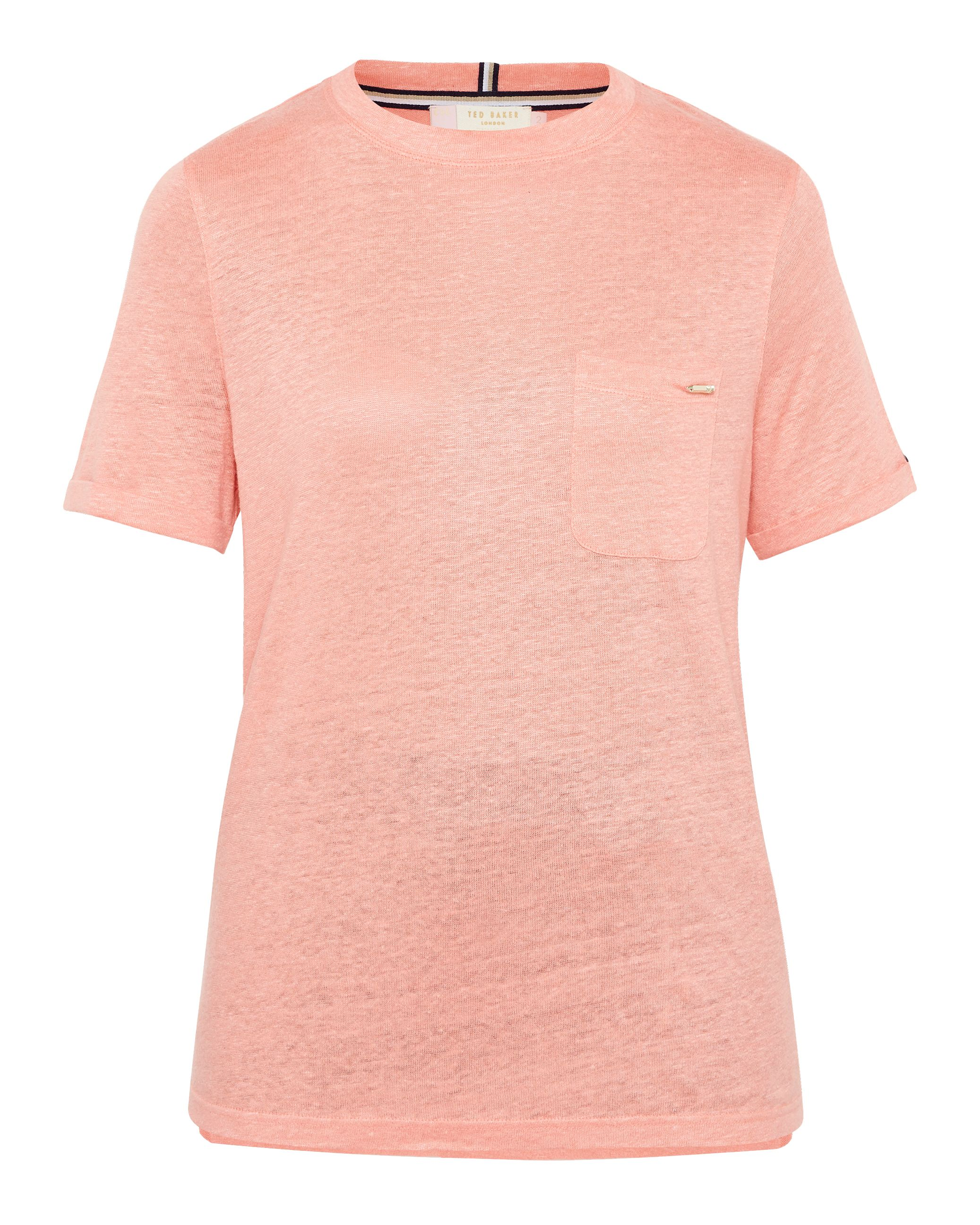 Ted Baker Harlaa Square Cut Linen T-Shirt, Coral