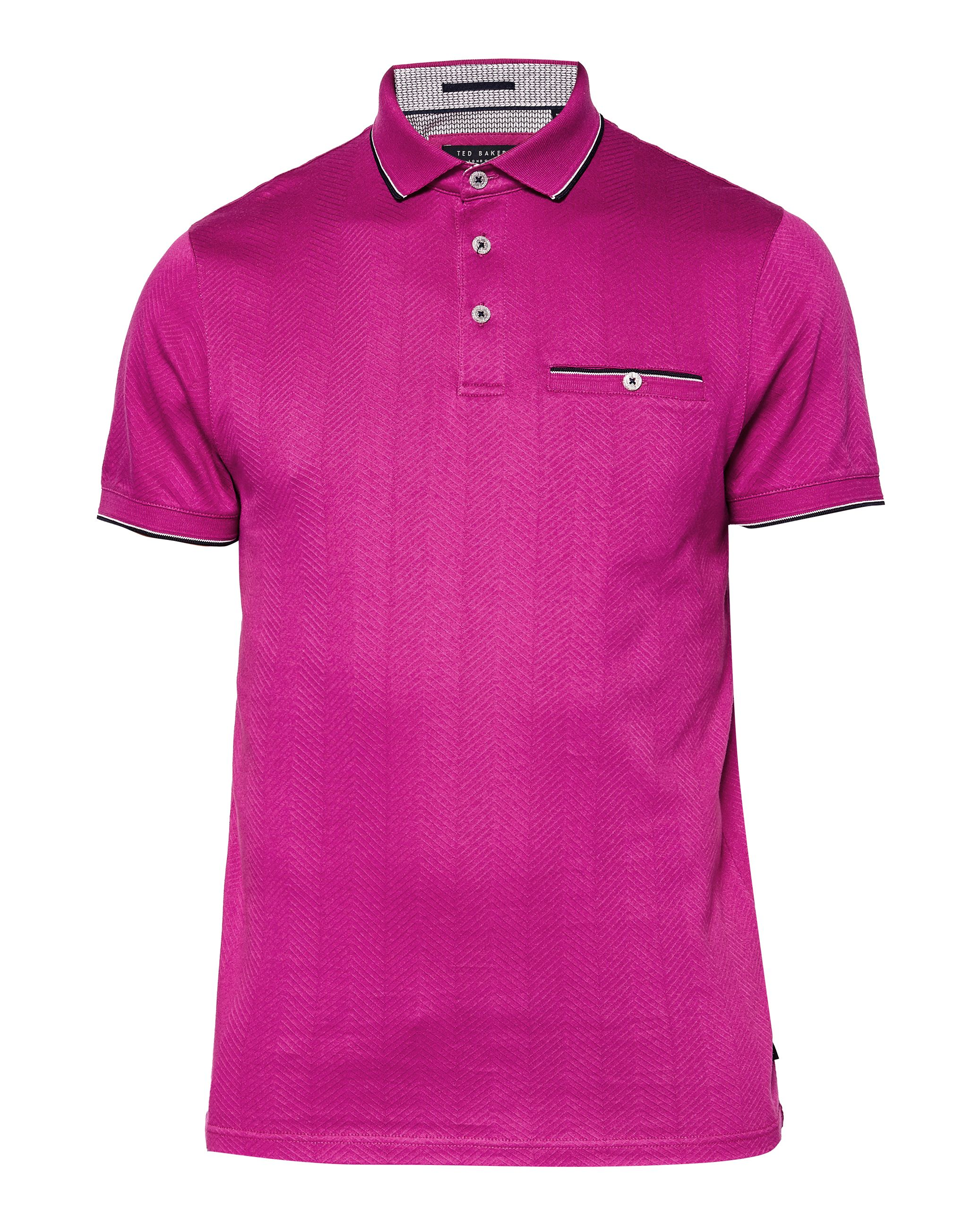 Men's Ted Baker Square Herringbone Jacquard Polo Shirt, Fuchsia