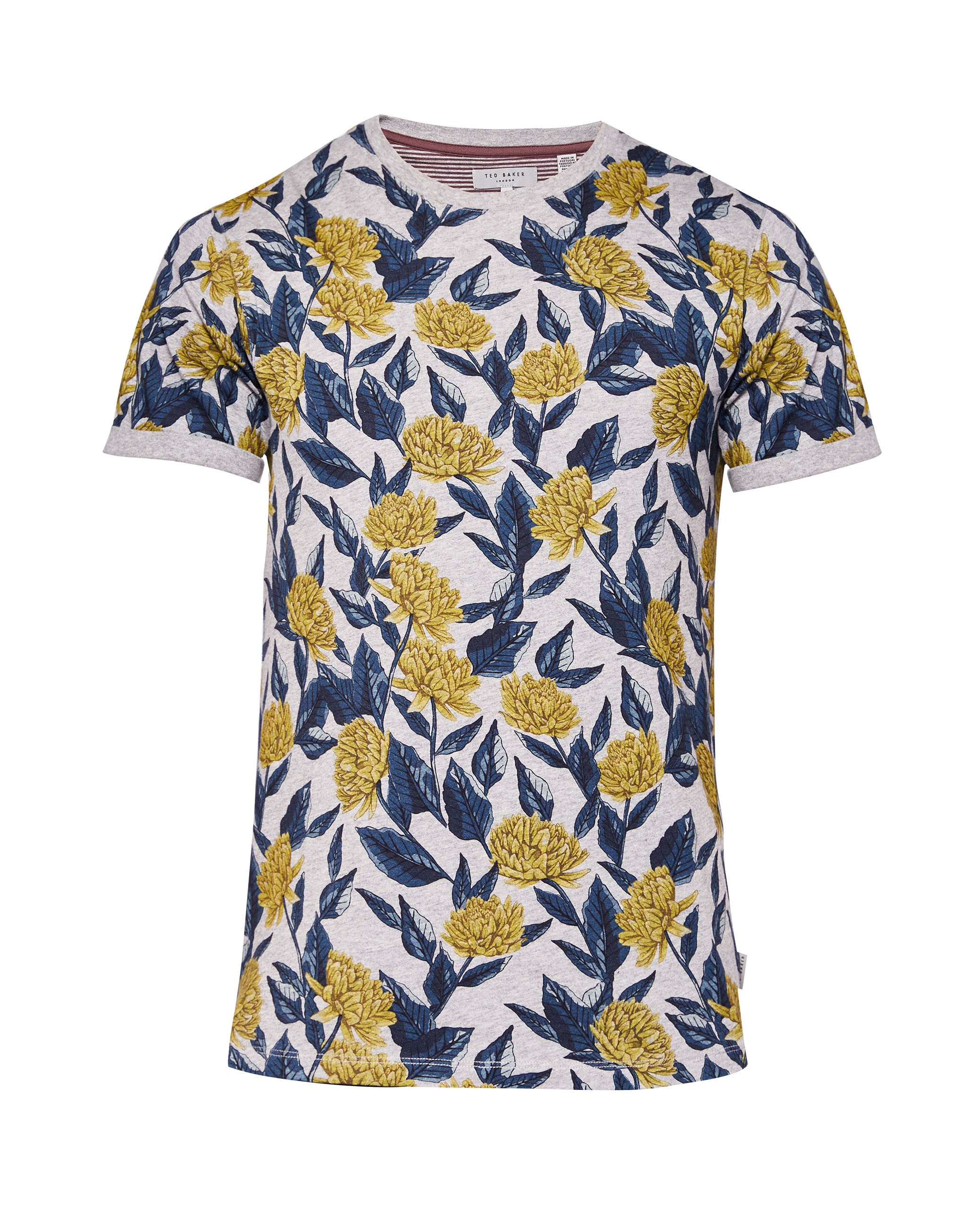 Men's Ted Baker Alfiee Floral Print Cotton T-Shirt, Grey