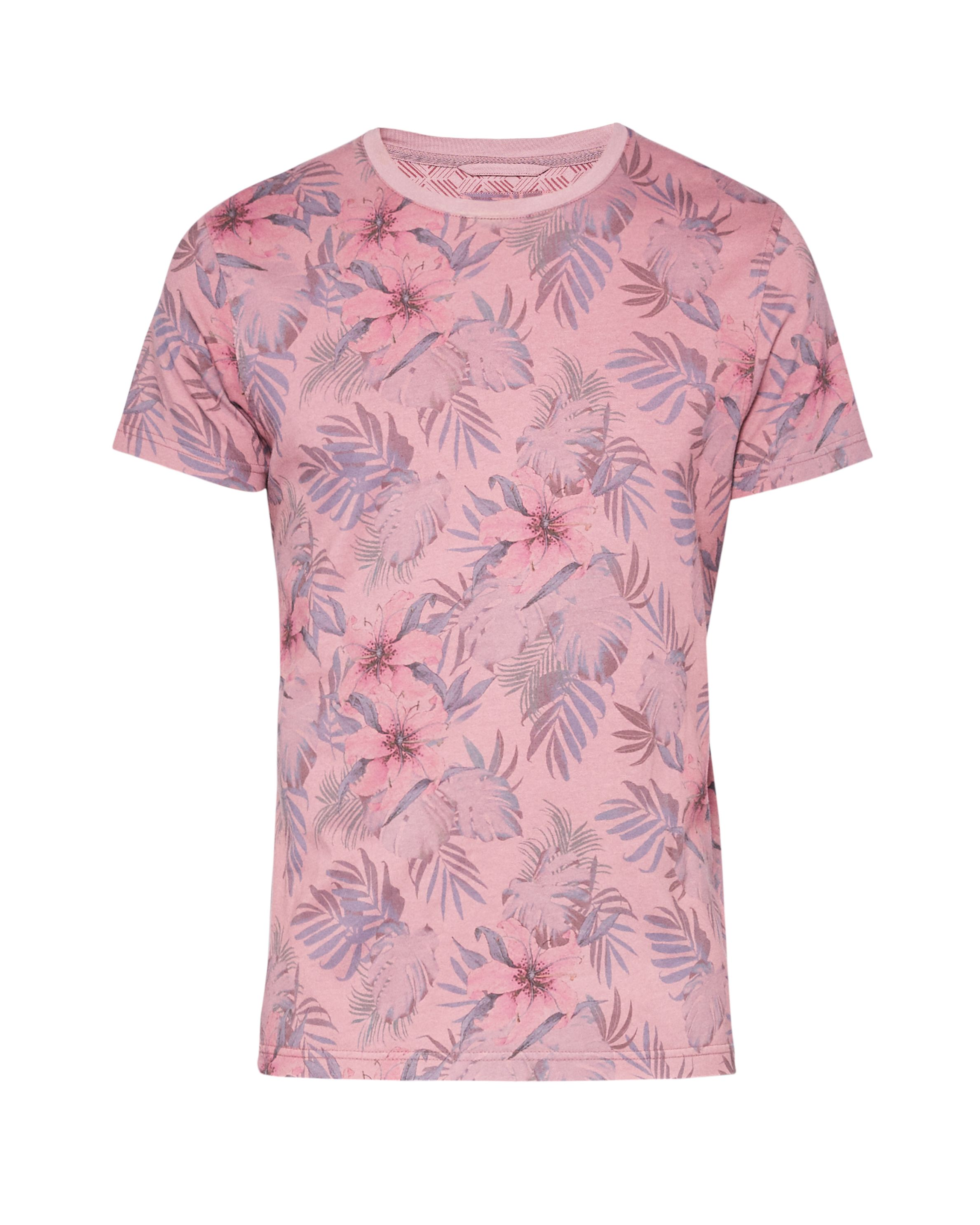 Men's Ted Baker Bartney Floral Print Cotton T-Shirt, Pink