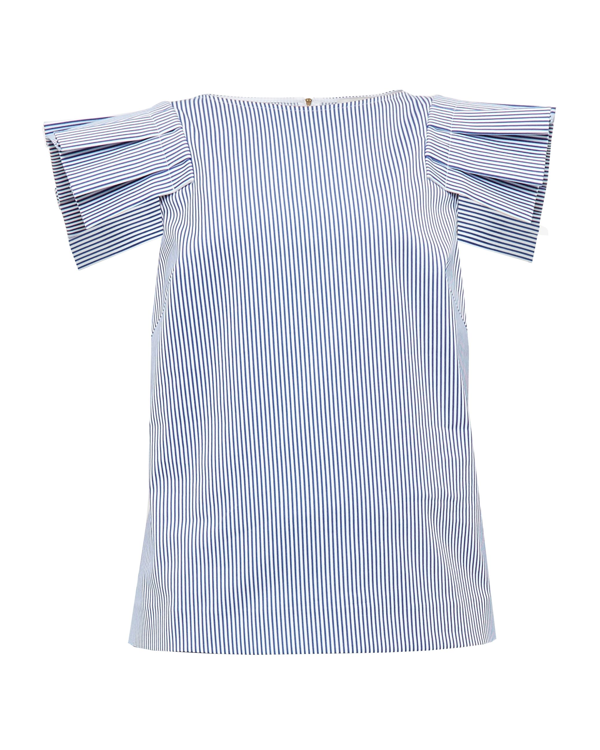 Ted Baker Amella Striped Frilled Shoulder Cotton-Blend Top, Blue