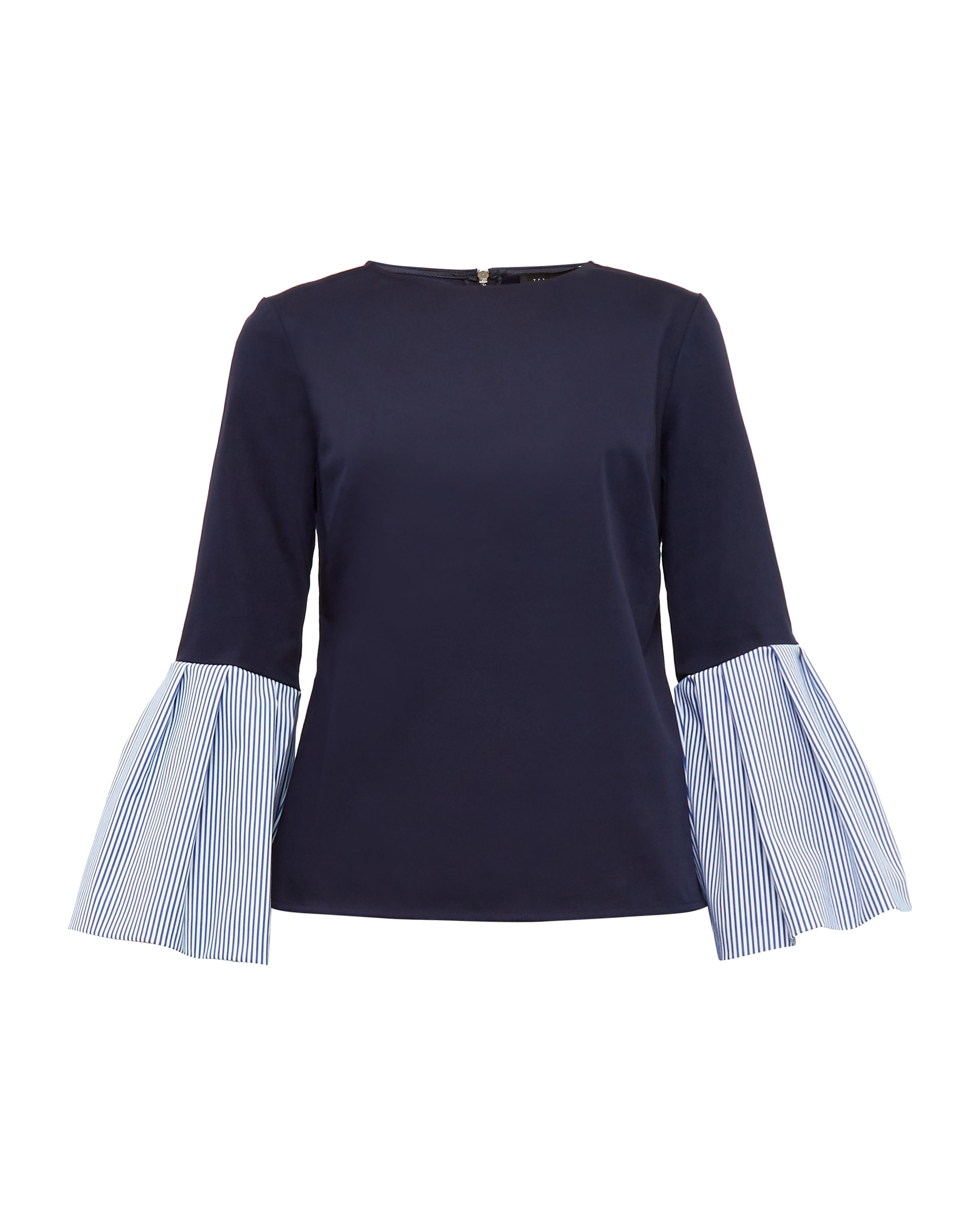 Ted Baker Jesieh Striped Bell Sleeved Cotton-Blend Top, Blue