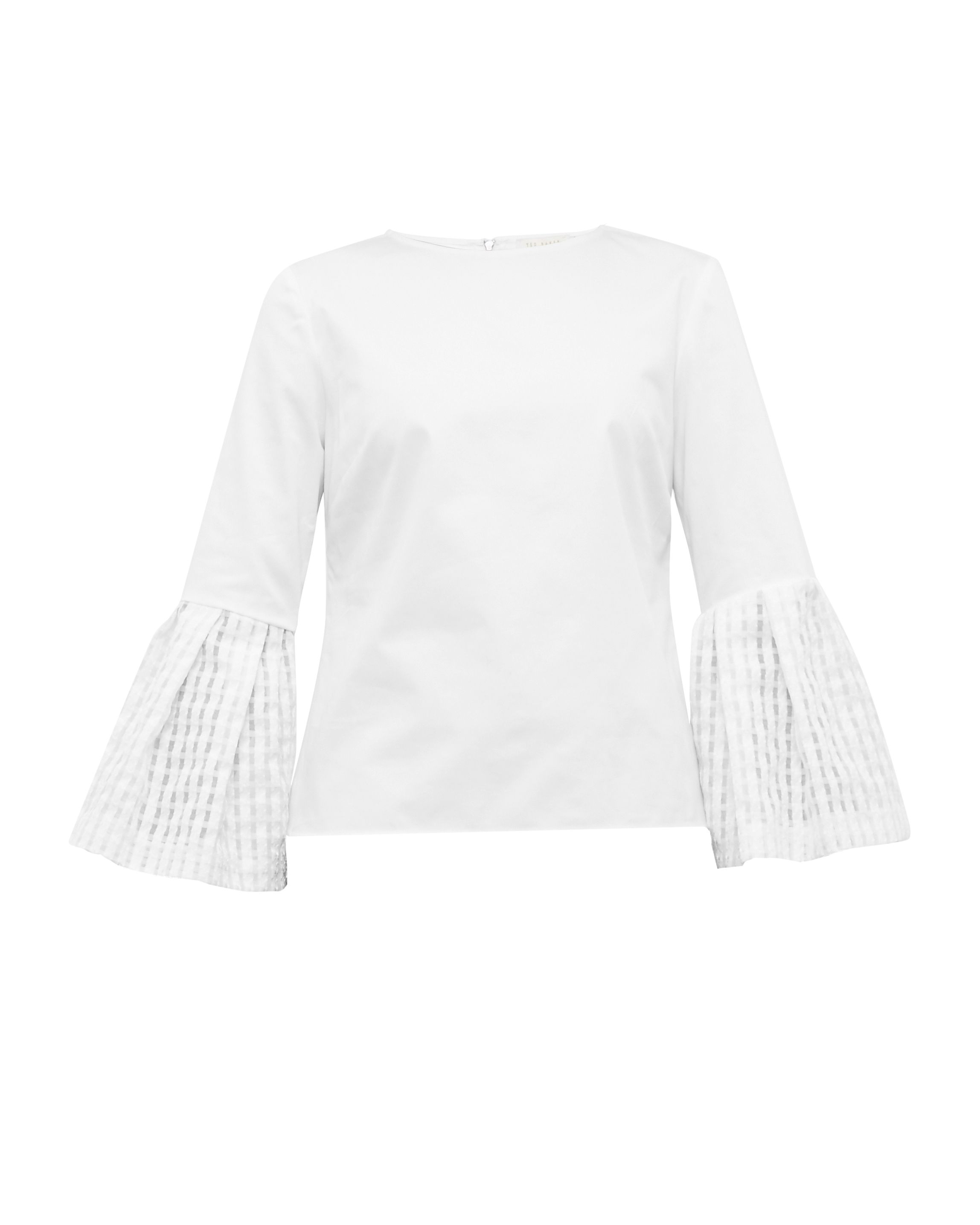 Ted Baker Gailee Gingham Bell Sleeved Cotton-Blend Top, White