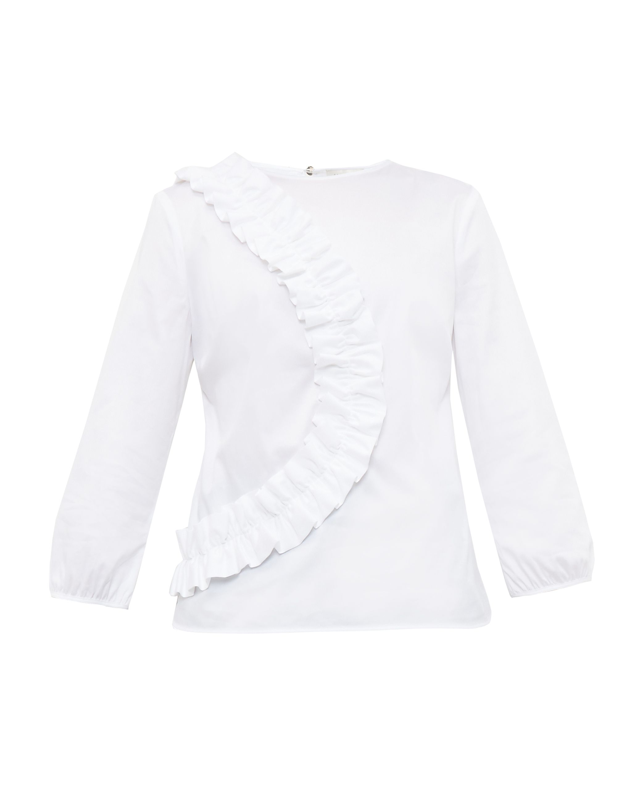 Ted Baker Alasso Frill Detail CottonBlend Blouse White