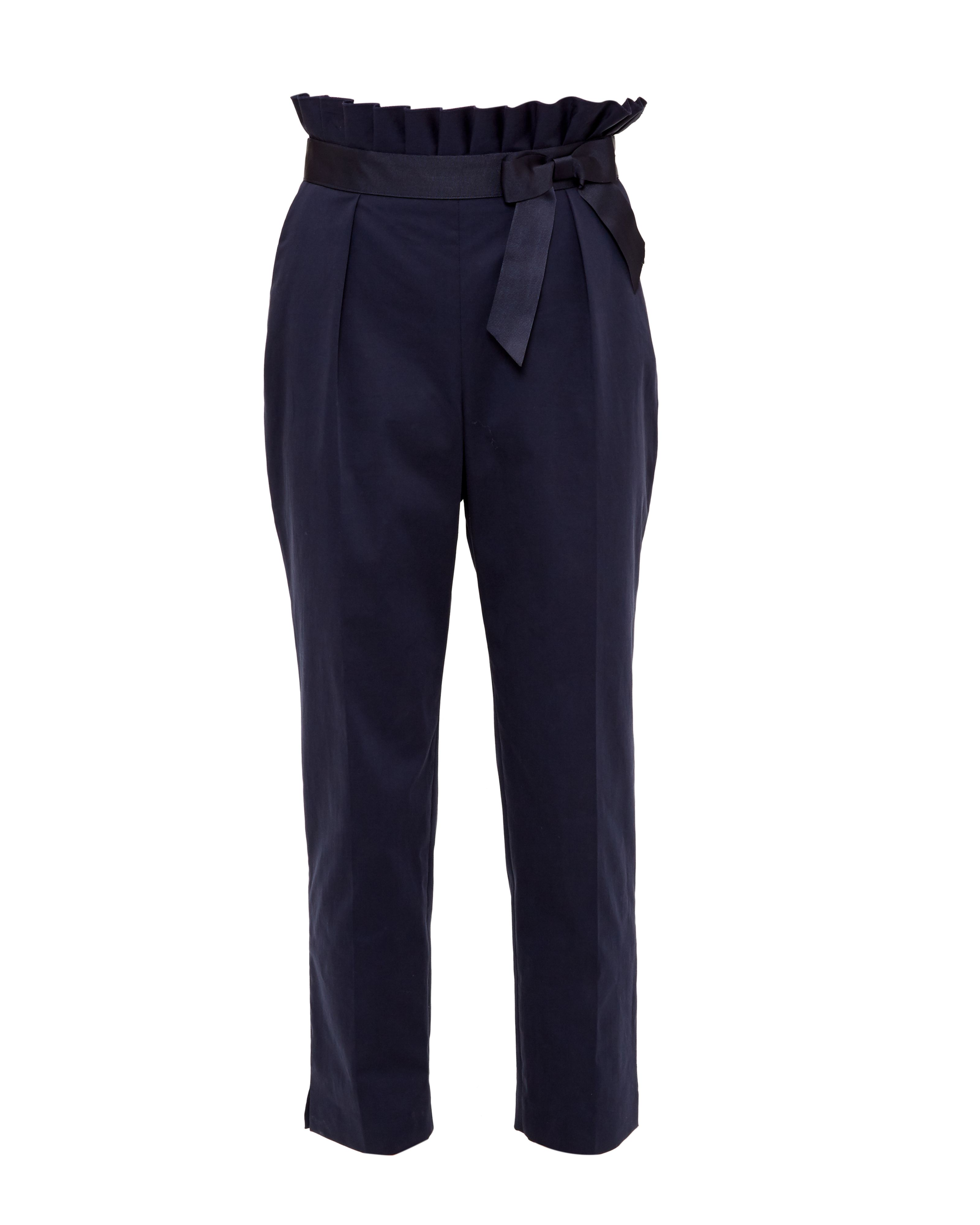 Ted Baker Verbo Ruffle Waistline Cotton-Blend Trousers, Blue