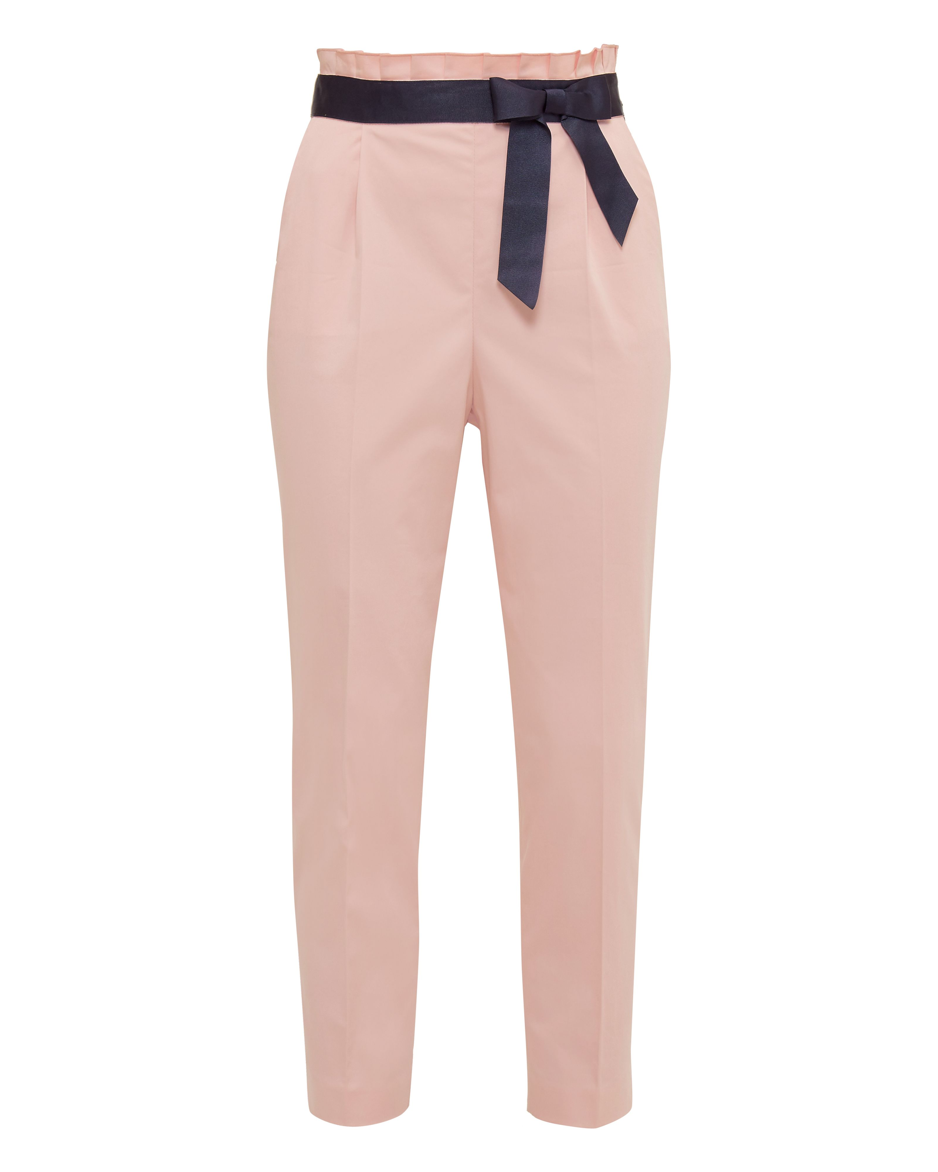 Ted Baker Verbo Ruffle Waistline Cotton-Blend Trousers, Pink