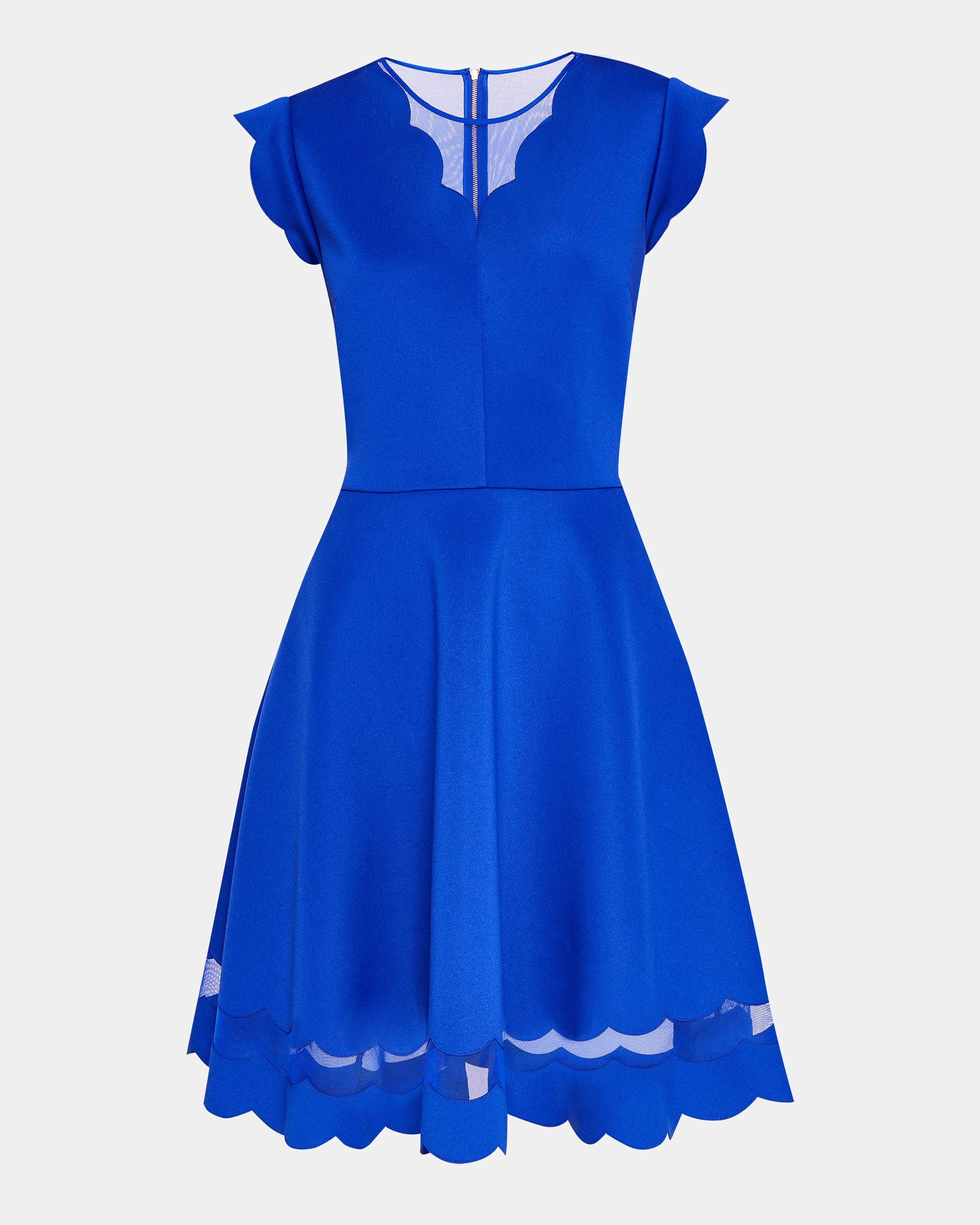 Ted Baker Sharlot Scallop Detail Skater Dress, Blue