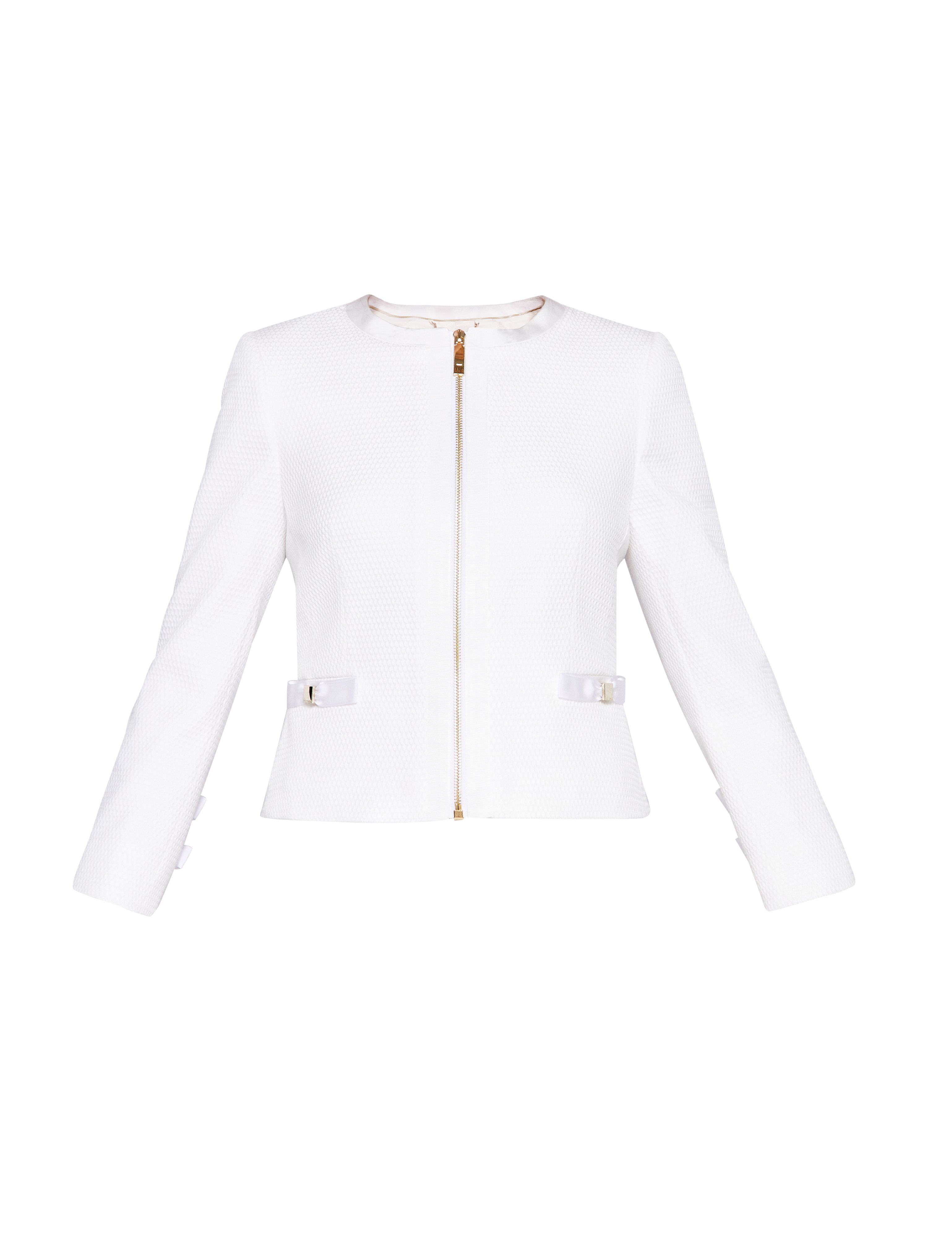 Ted Baker Ione Textured Cropped Bow Jacket, White