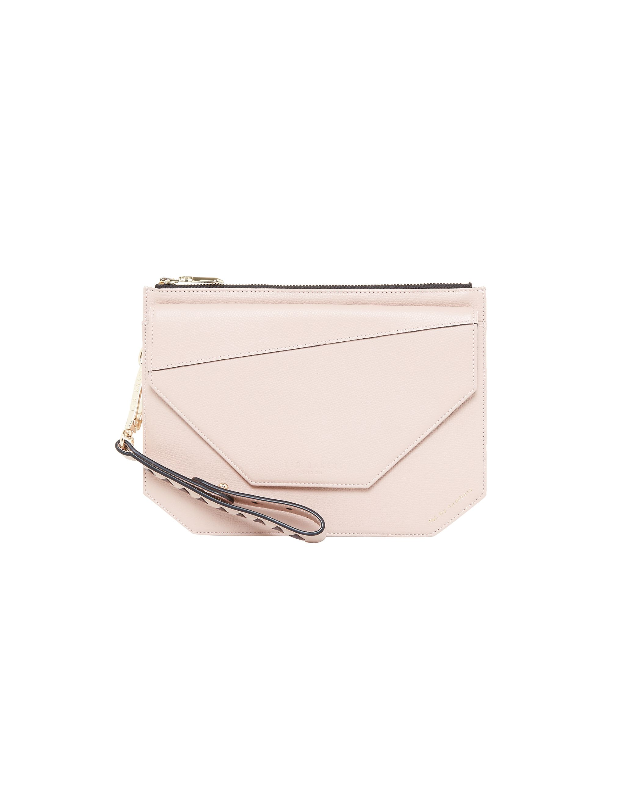 Ted Baker Cassis Flap Detail Leather Clutch Bag Blush