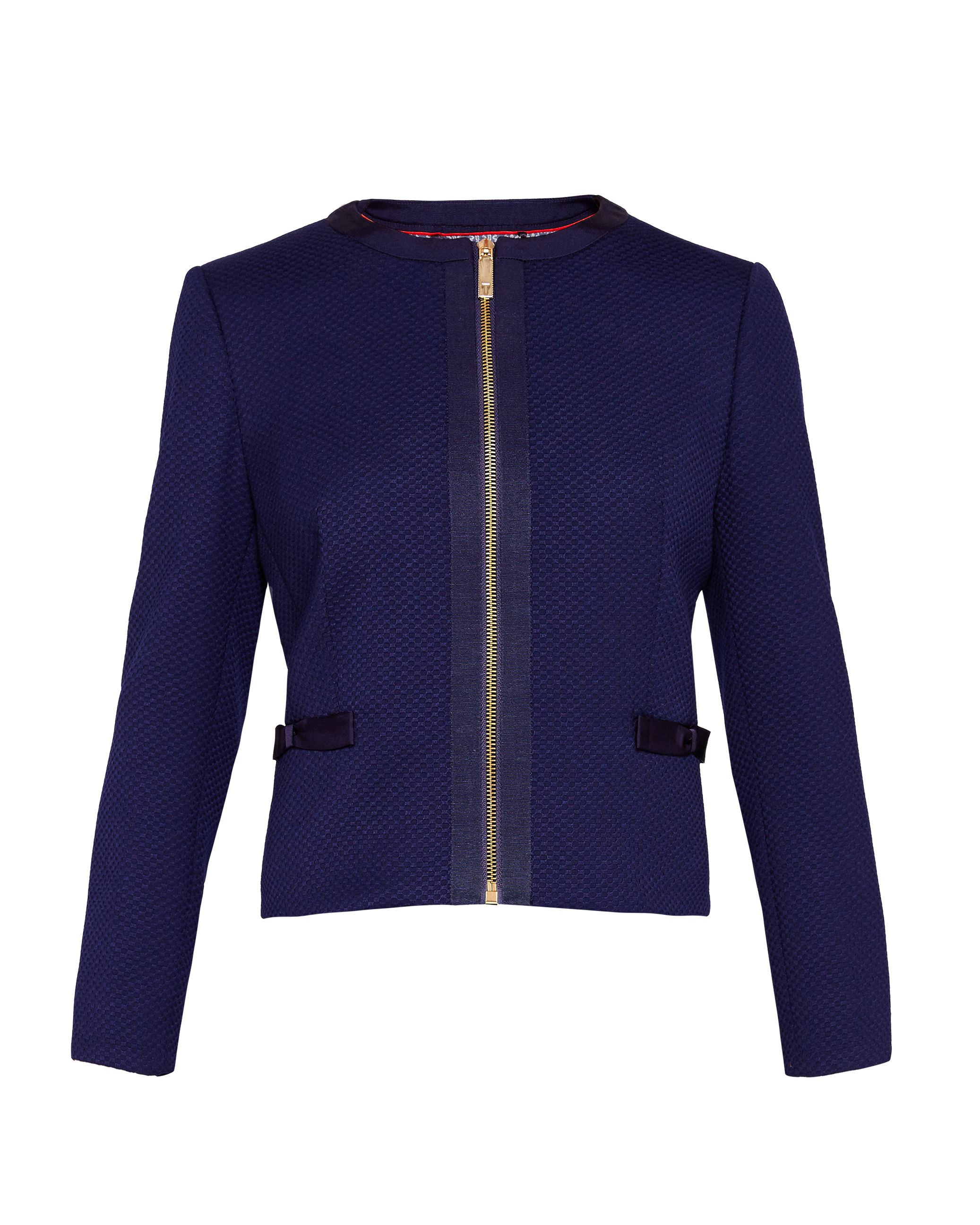 Ted Baker Nadae Cropped Bow Detail Jacket, Blue