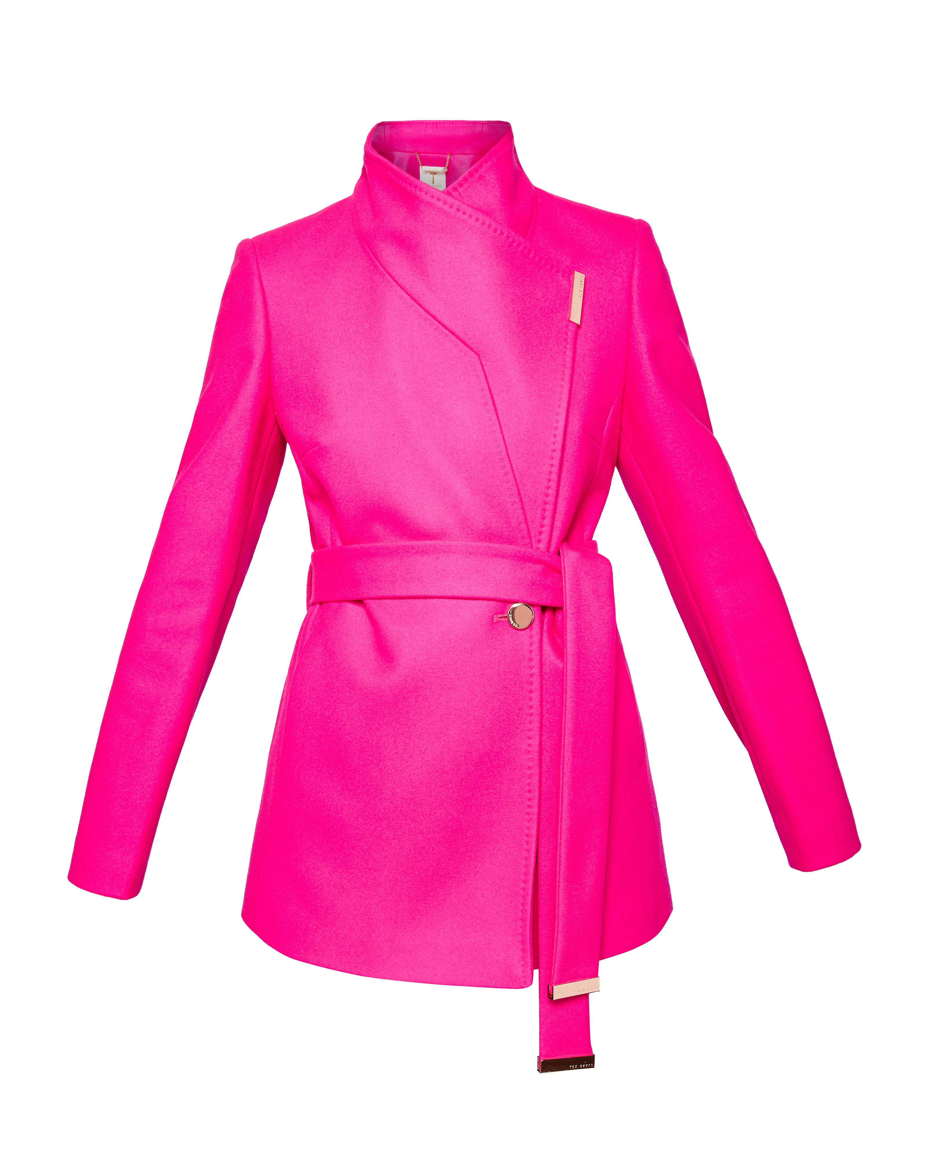 Ted Baker Keyla Short Wrap Cashmere-Blend Coat, Fuchsia