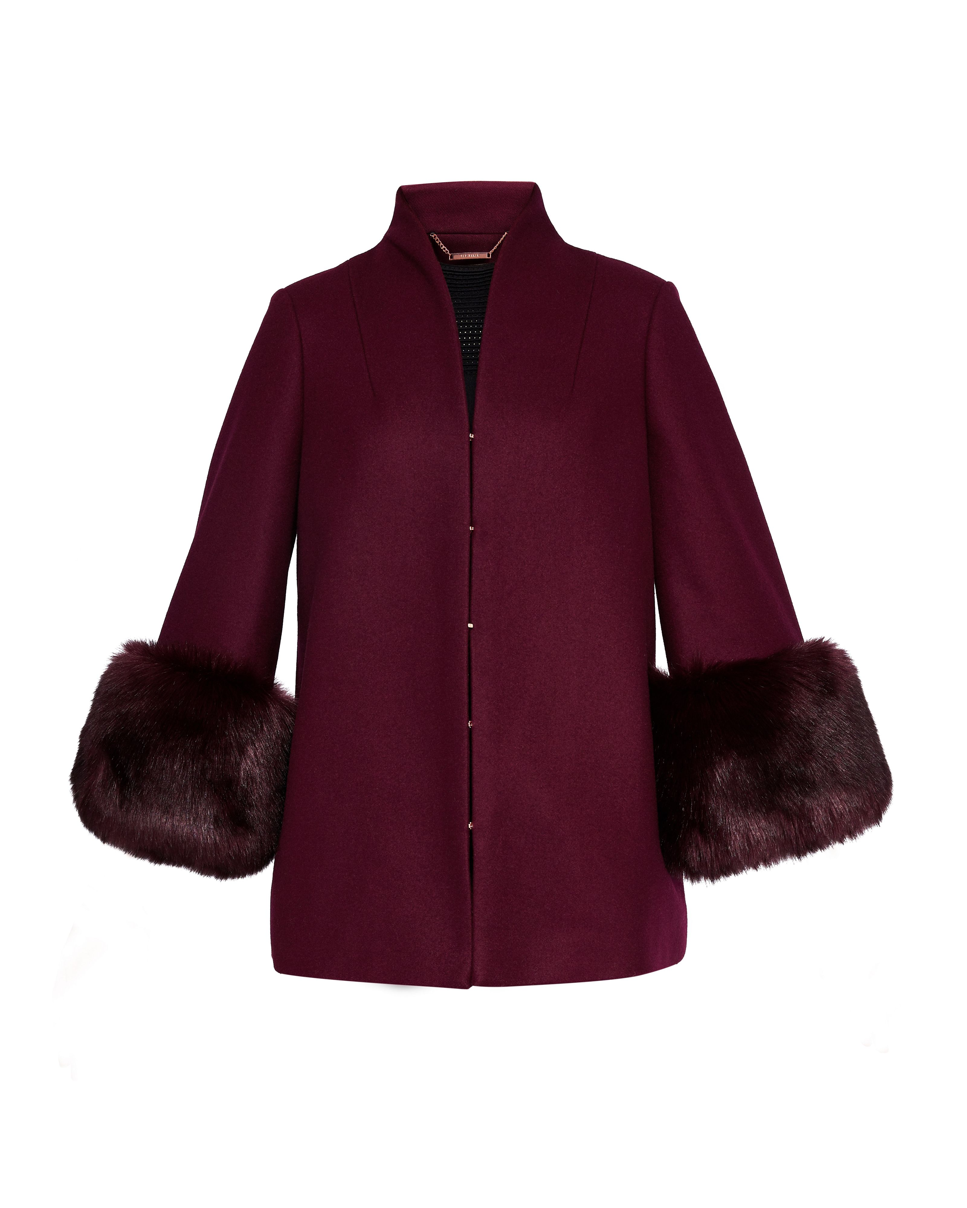 Ted Baker Rilly Wool Coat Faux Fur Cuff, Maroon