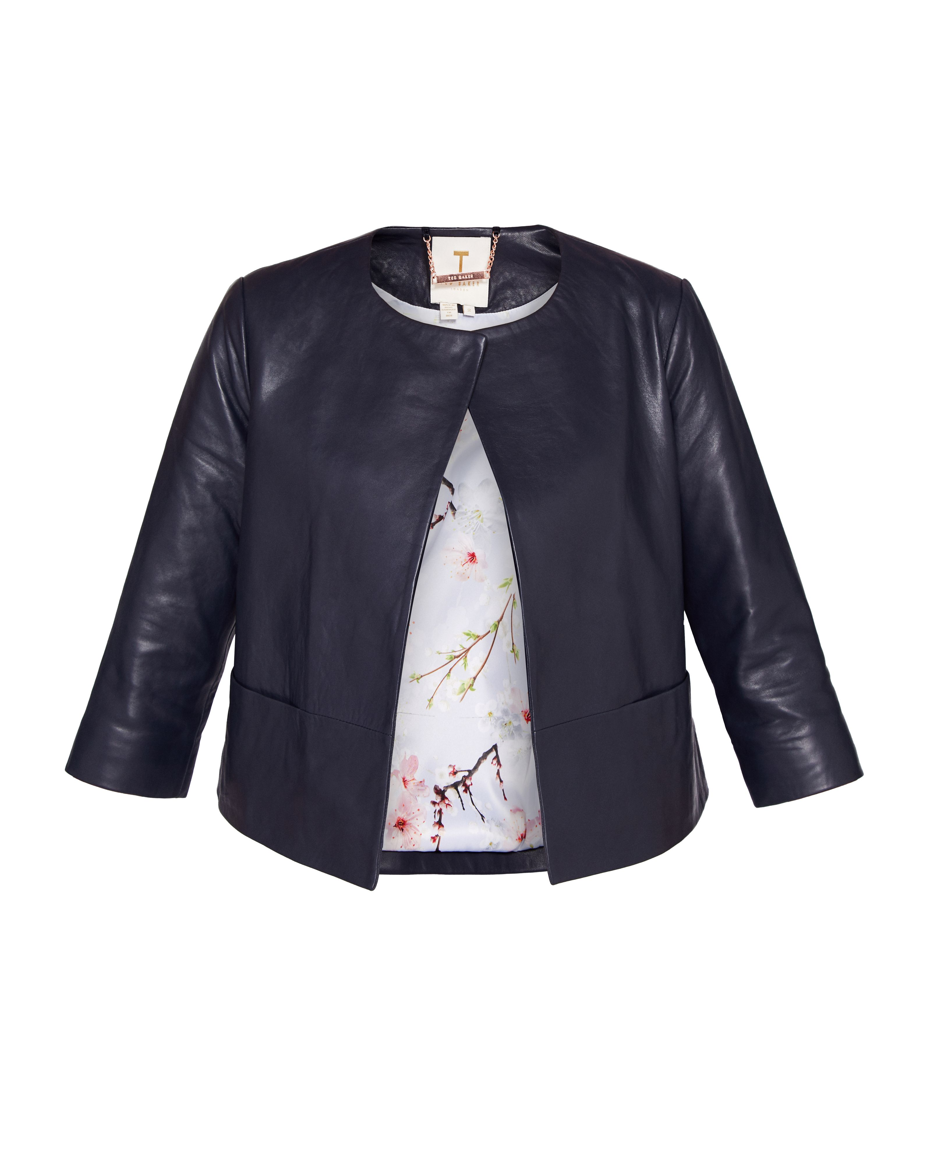 Ted Baker Rennay Leather Collarless Jacket, Blue