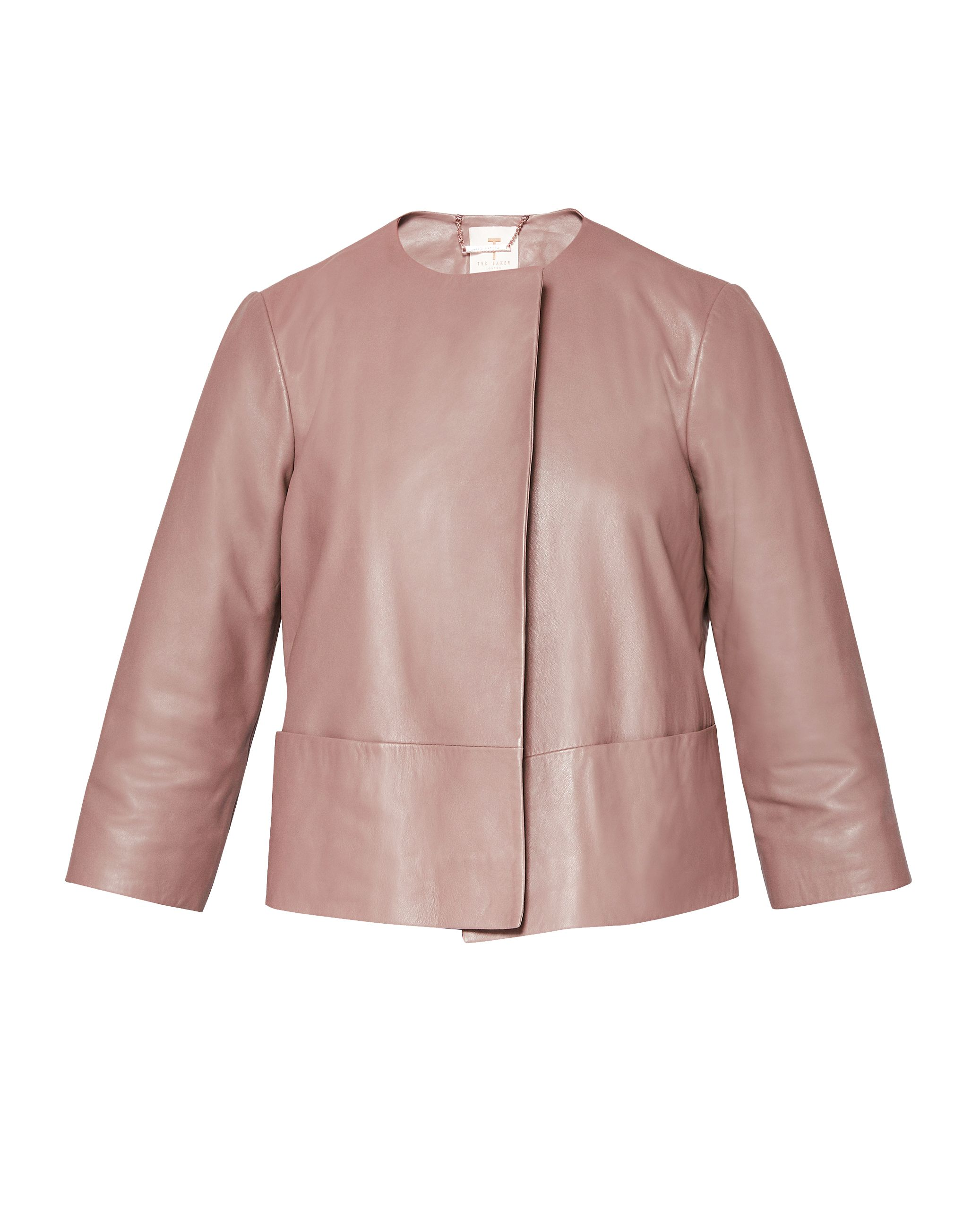 Ted Baker Rennay Leather Collarless Jacket, Pink
