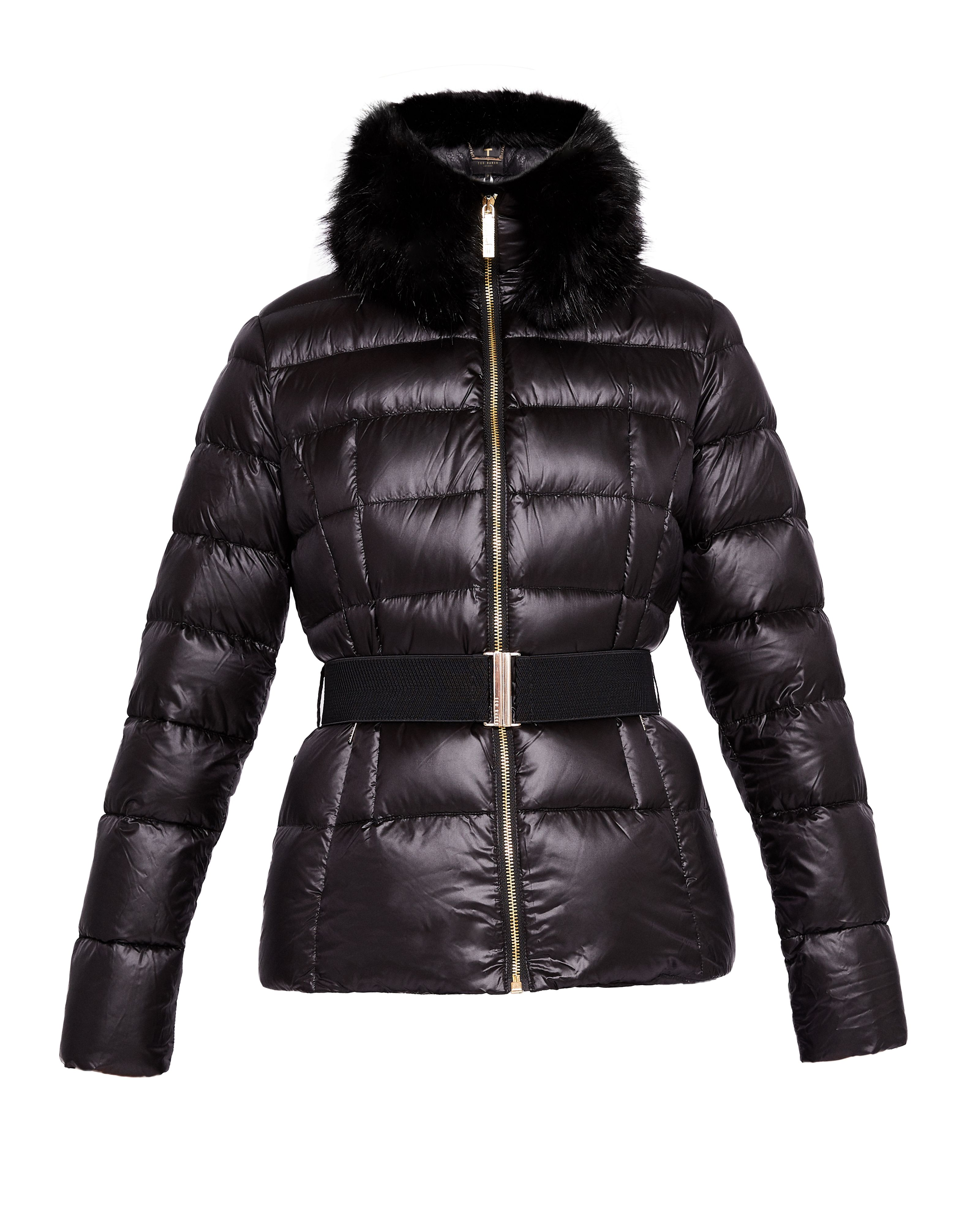 Ted Baker Junnie Faux Fur Collar Quilted Jacket, Black