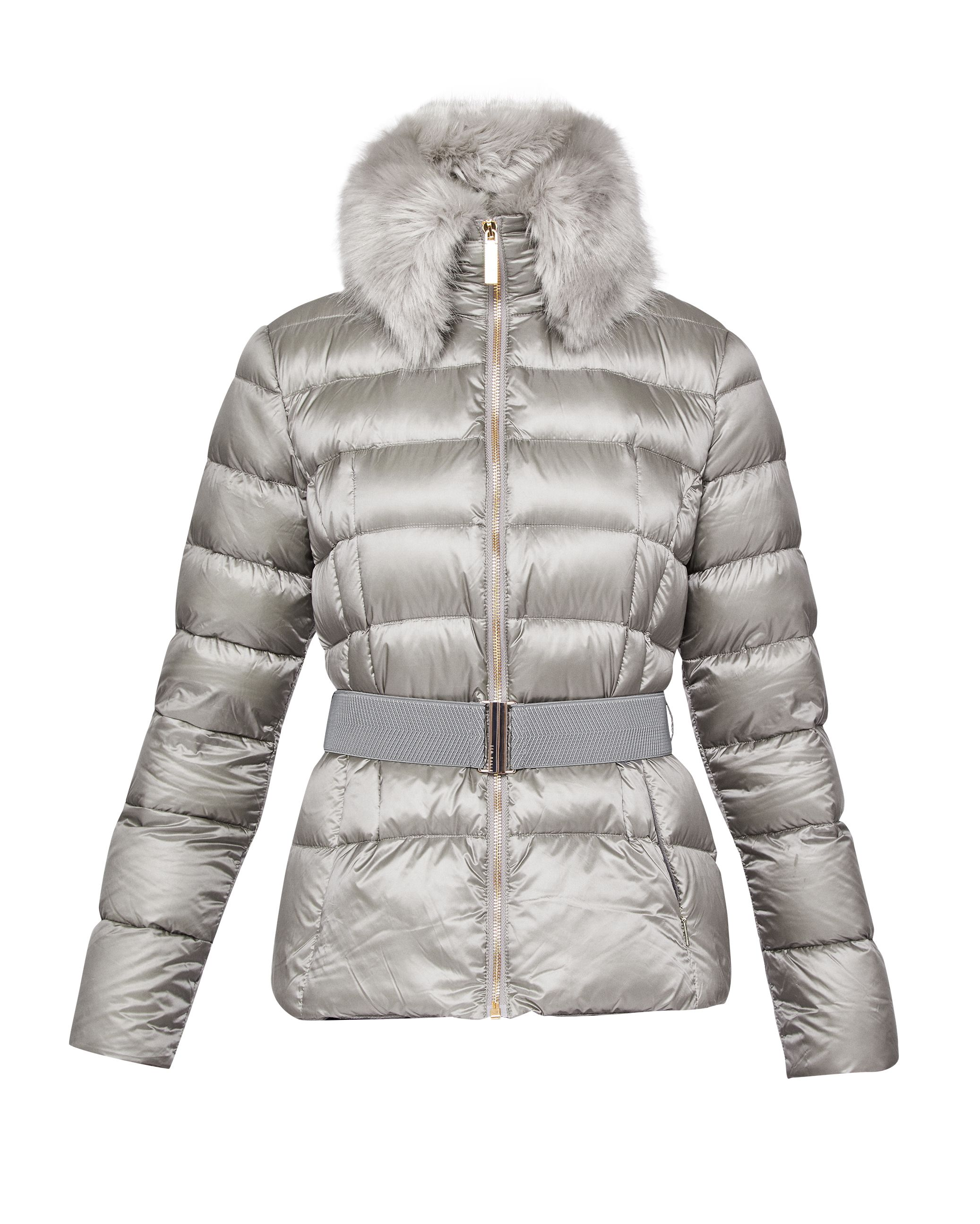 Ted Baker Junnie Faux Fur Collar Quilted Jacket, Light Grey