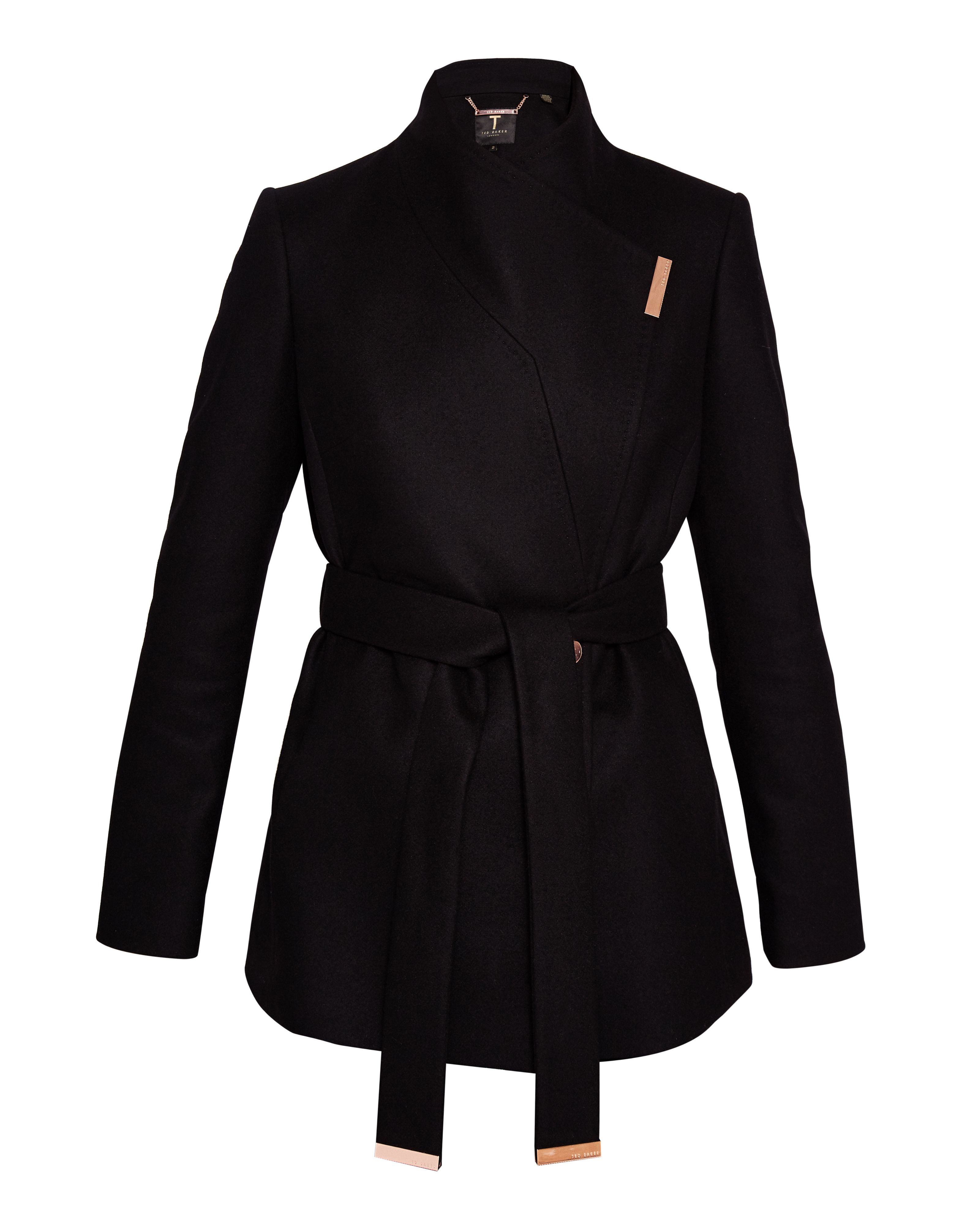 Ted Baker Keyla Short Wrap Cashmere-Blend Coat, Black