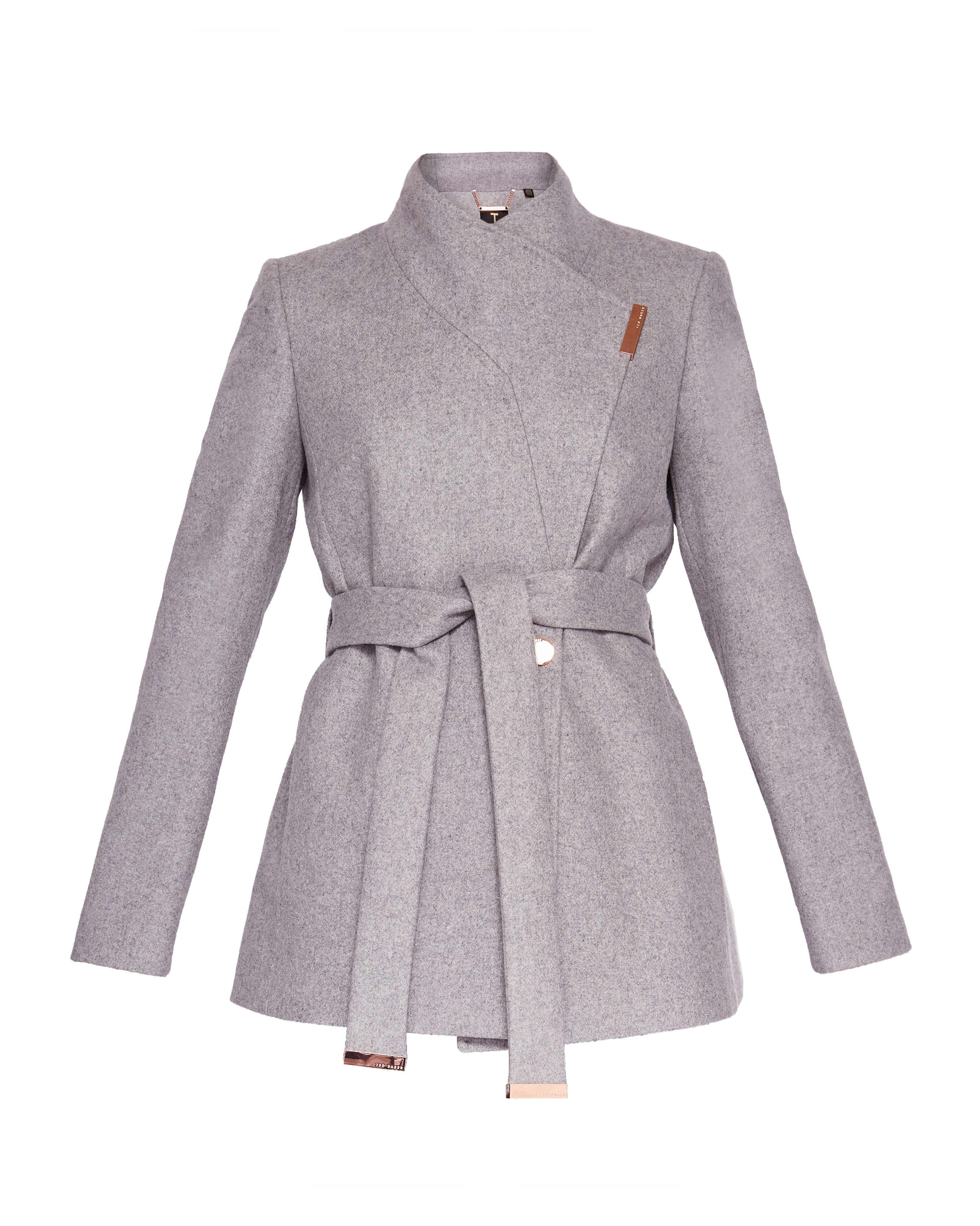 Ted Baker Keyla Short Wrap Cashmere-Blend Coat, Light Grey