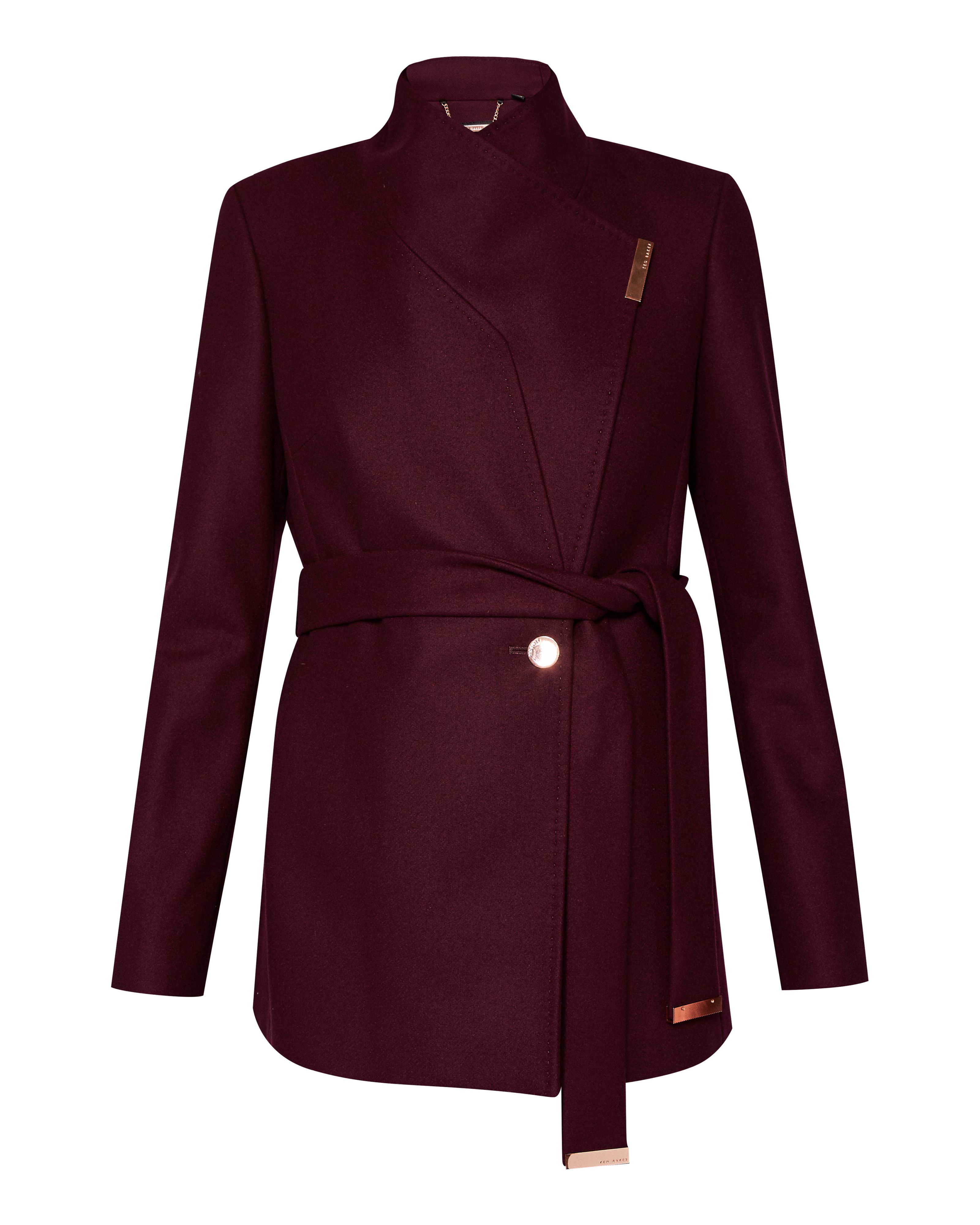 Ted Baker Keyla Short Wrap Cashmere-Blend Coat, Maroon