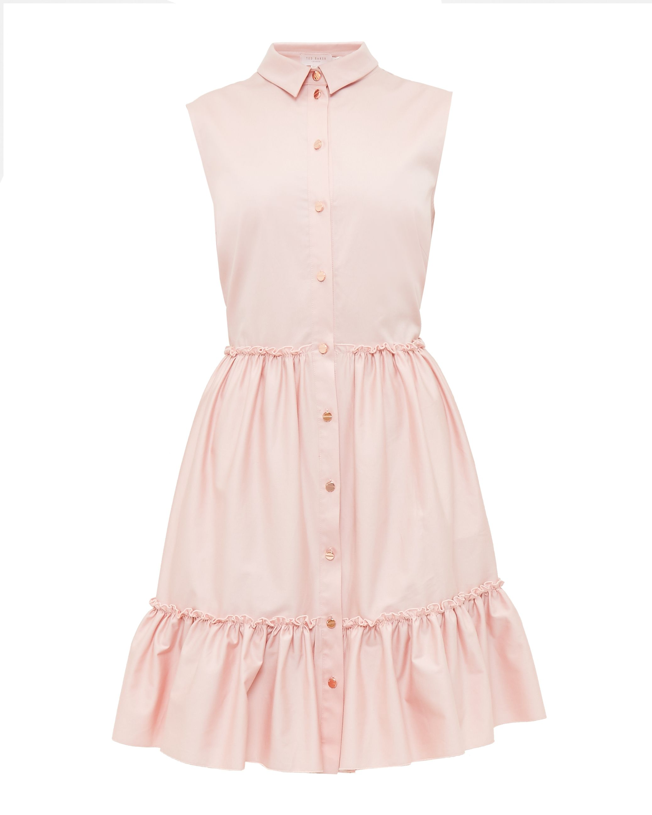Ted Baker Daikota Sleeveless Collared Cotton-Blend Dress, Pink