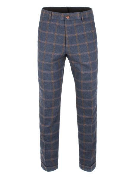 Gibson Blue And Tan Check Trouser