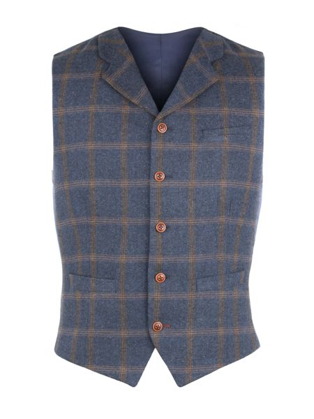 Gibson Blue And Tan Check Vest