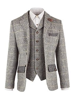 Grey Herringbone Check Jacket