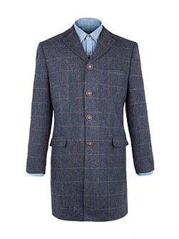 Navy Herringbone With Gold Check Long Jacket