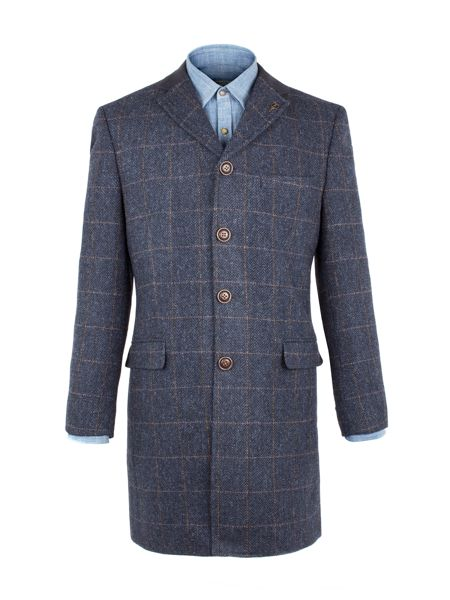 Gibson Navy Herringbone With Gold Check Long Jacket