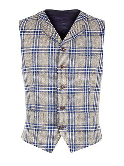 Taupe With Bold Blue Check Vest